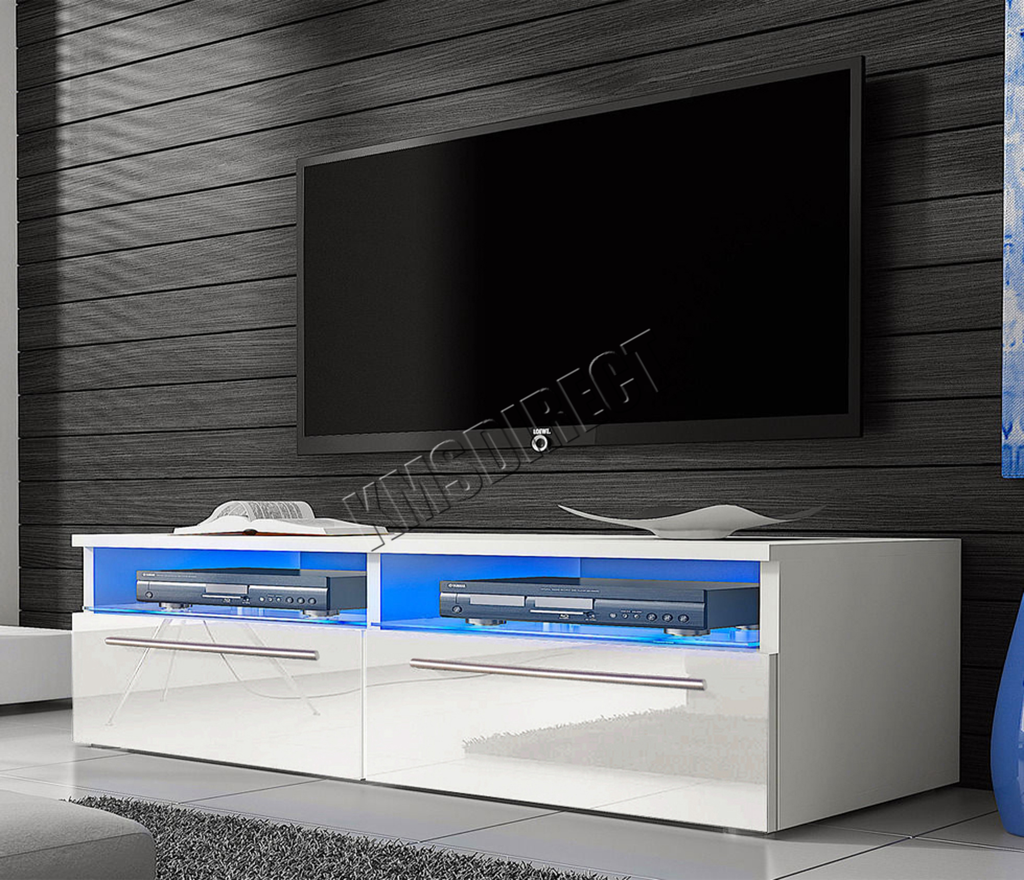 Sentinel Westwood Modern Led Tv Unit Stand Cabinet High Gloss Doors Matte Tvc04