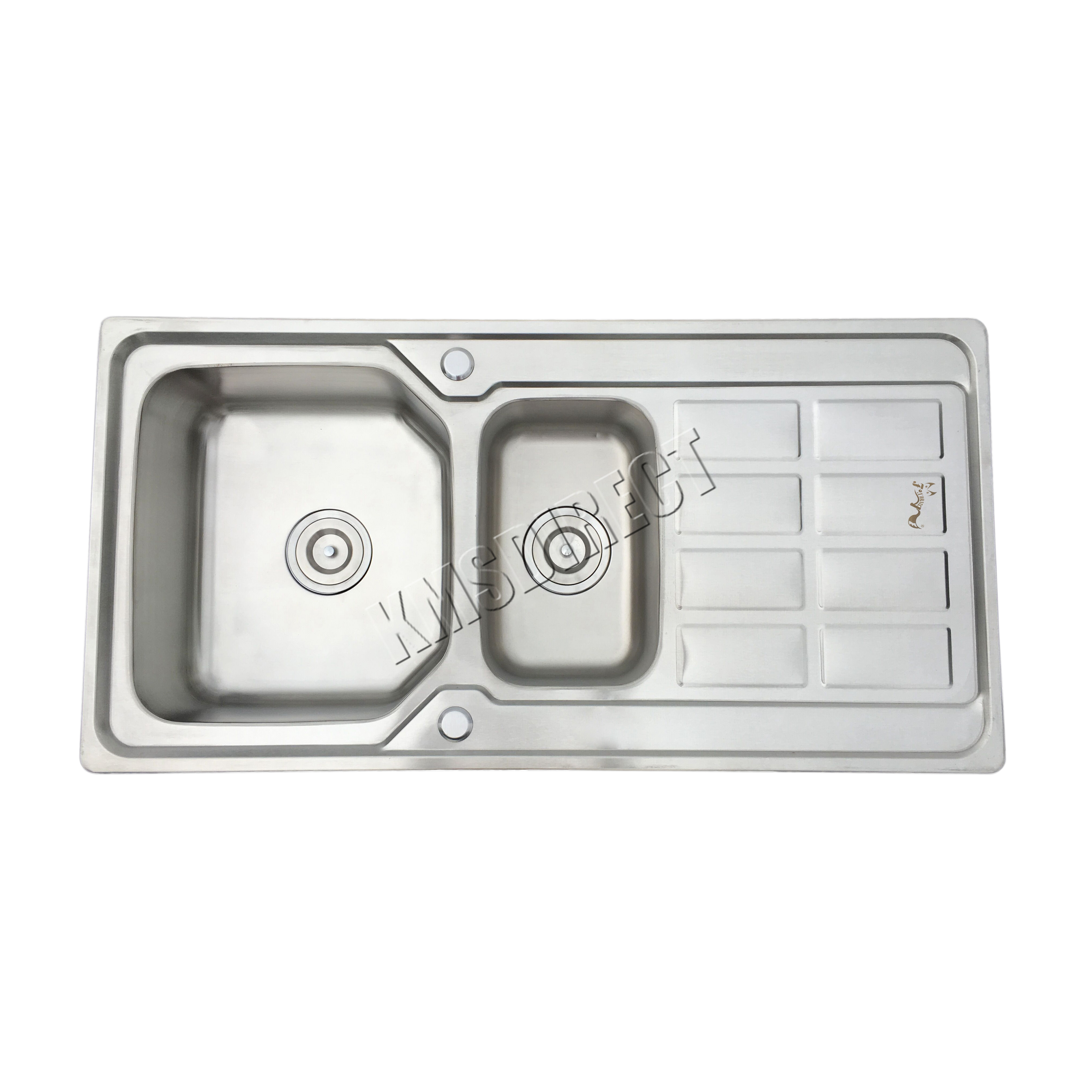 foxhunter double 1.5 bowl stainless steel kitchen sink complete