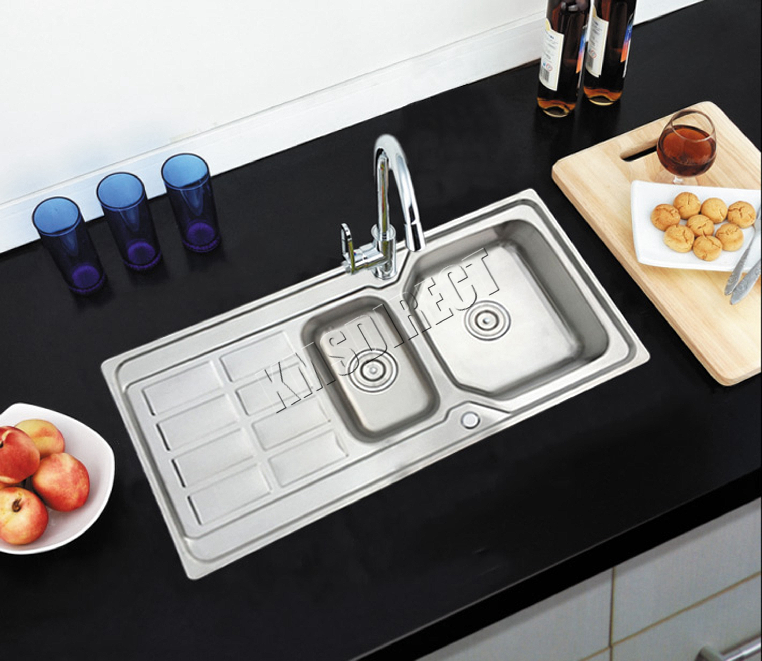 bowl enki drainboard kitchen stainless reversible plumbing sink sinks single kit steel itm double