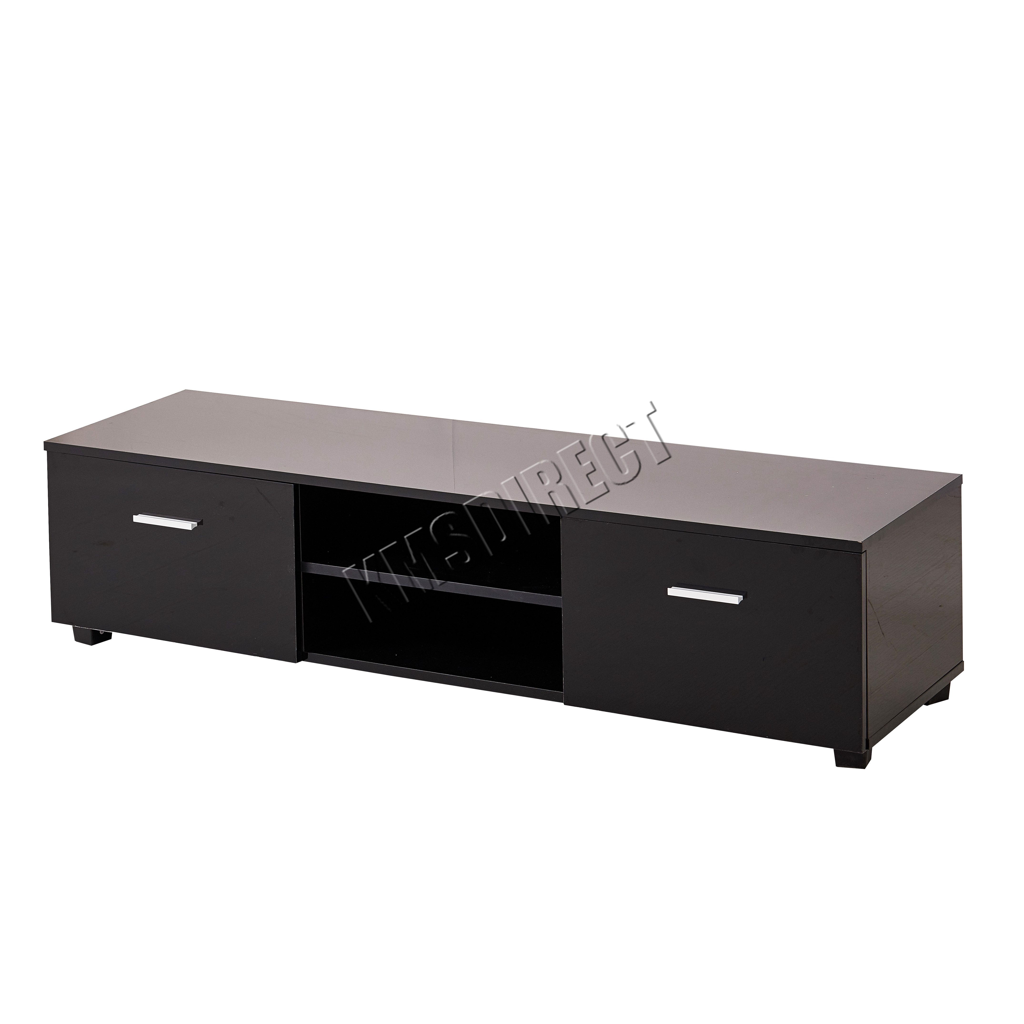 FoxHunter High Gloss MDF TV Cabinet Unit Stand Black Home ...