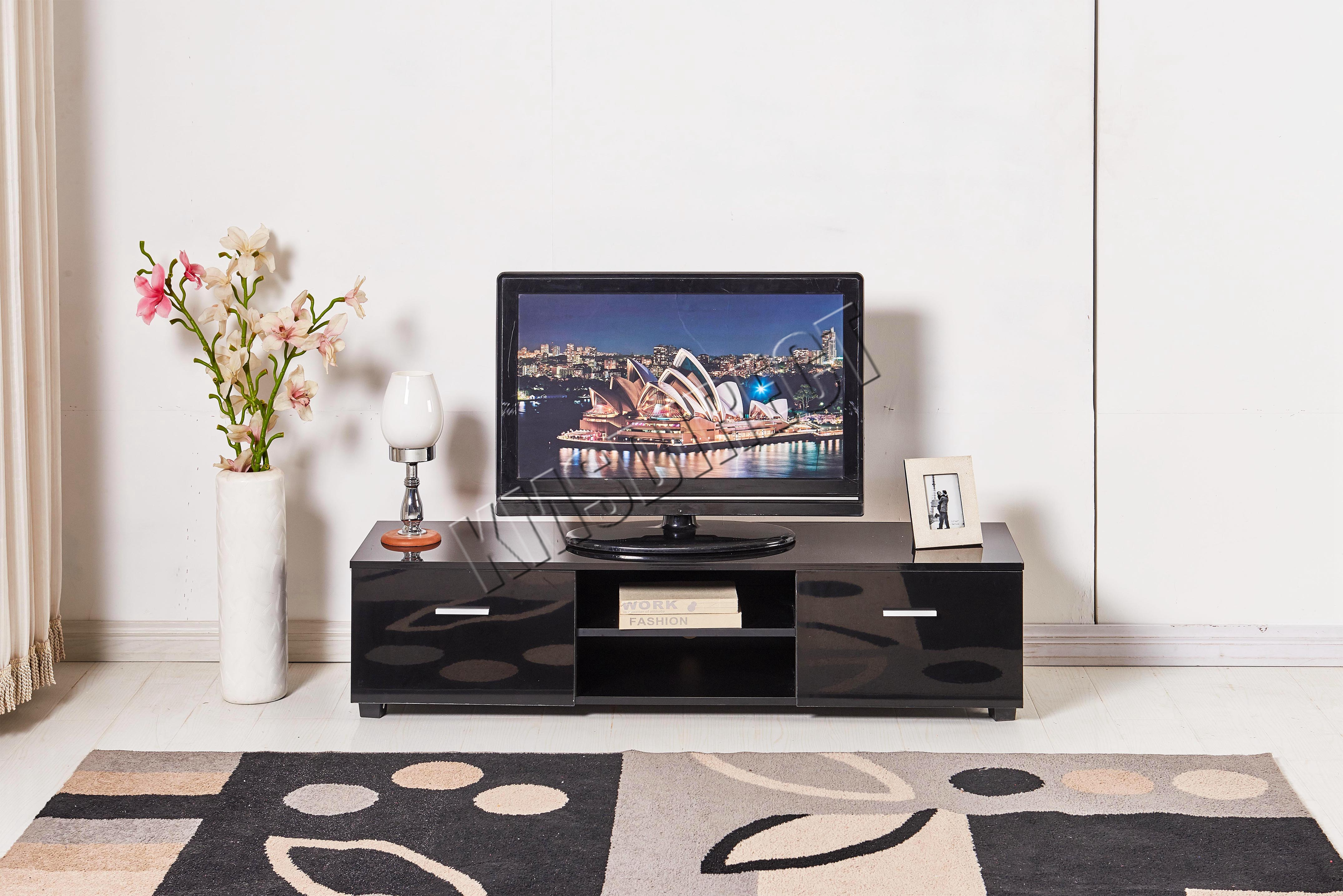 Image Is Loading FoxHunter High Gloss MDF TV Cabinet Unit Stand