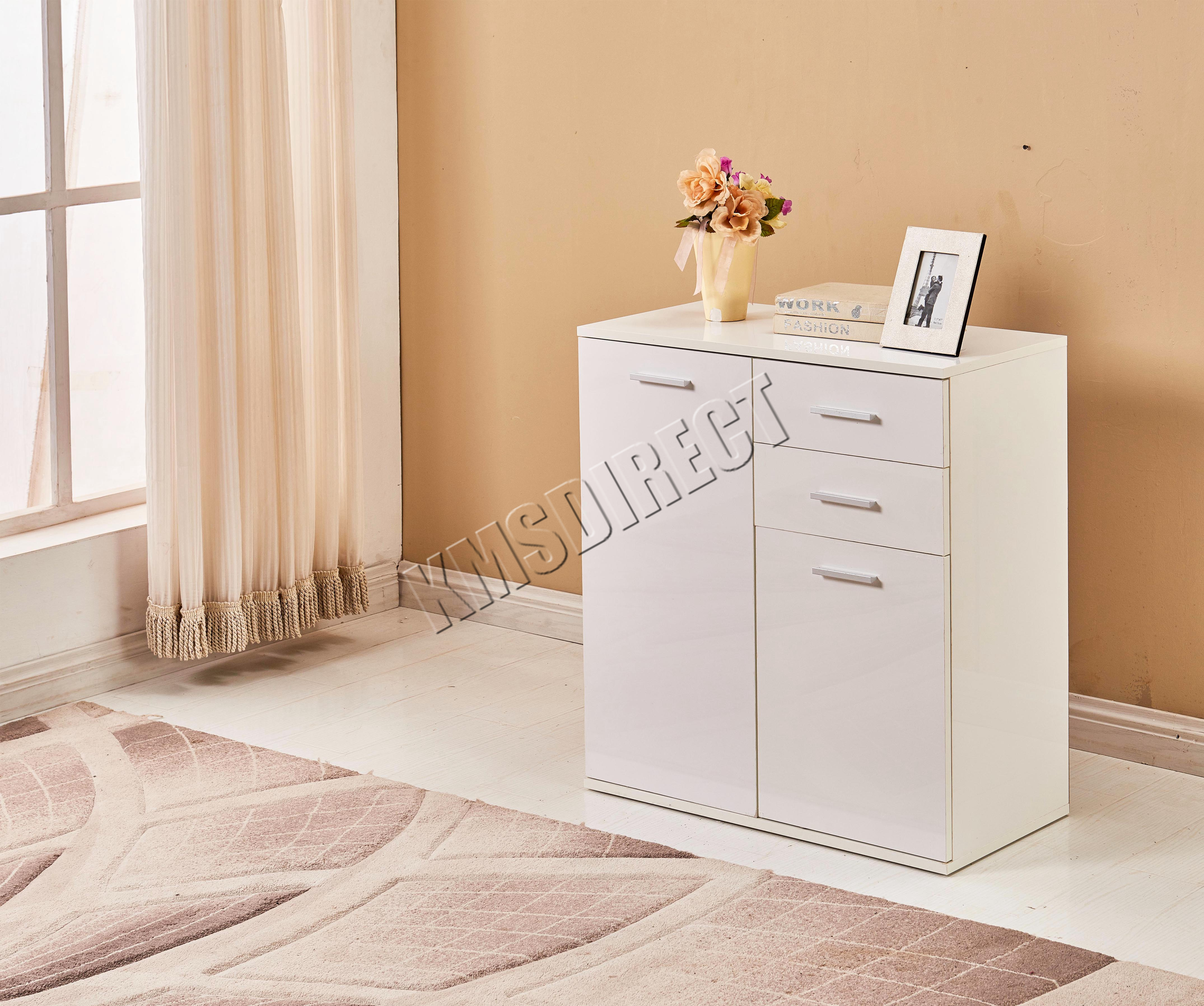 White Gloss Kitchen Cabinet Doors: WestWood White High Gloss Cabinet Unit Sideboard 2 Drawers
