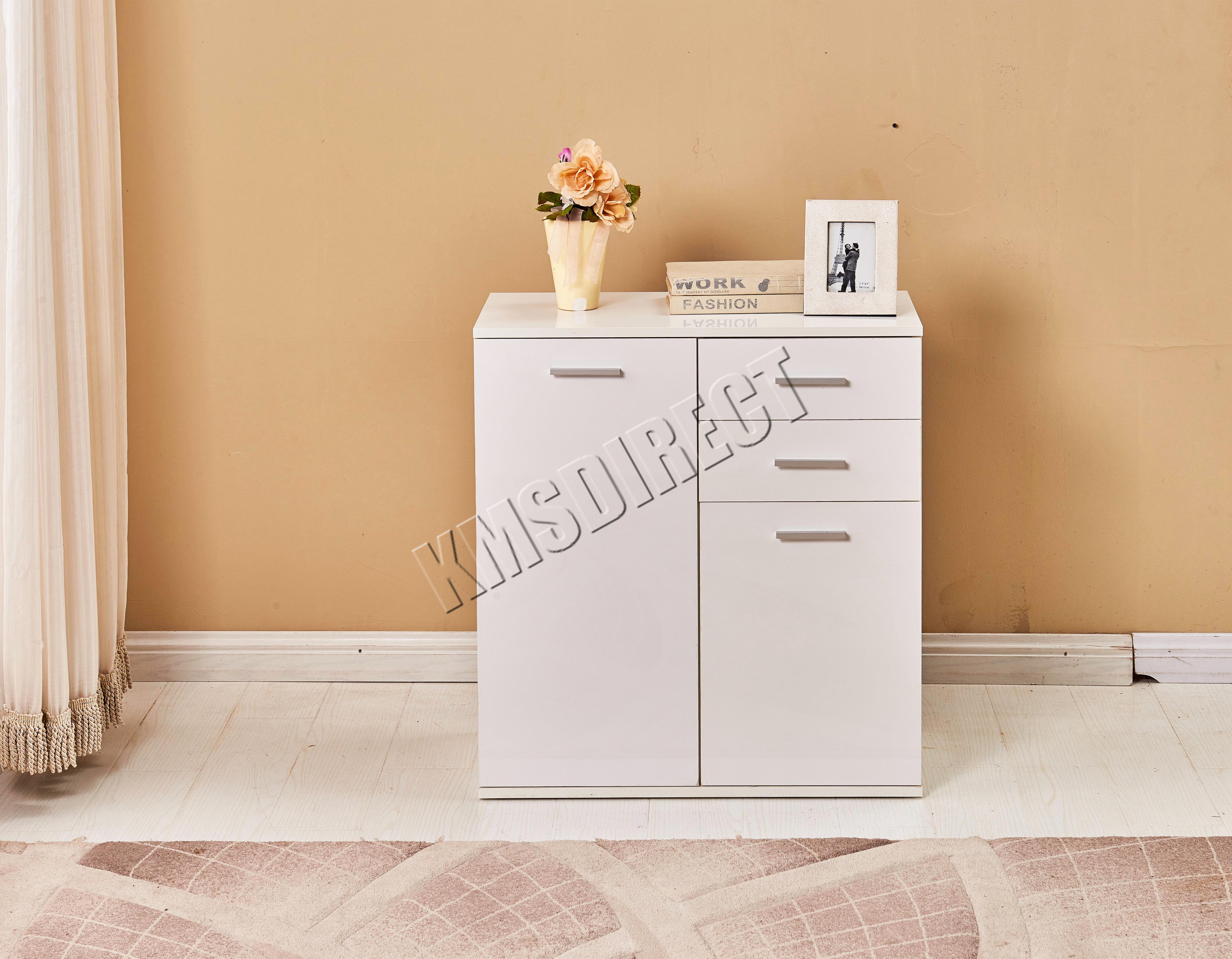 FoxHunter White High Gloss Cabinet Unit Sideboard 2 Drawers 2/3 ...