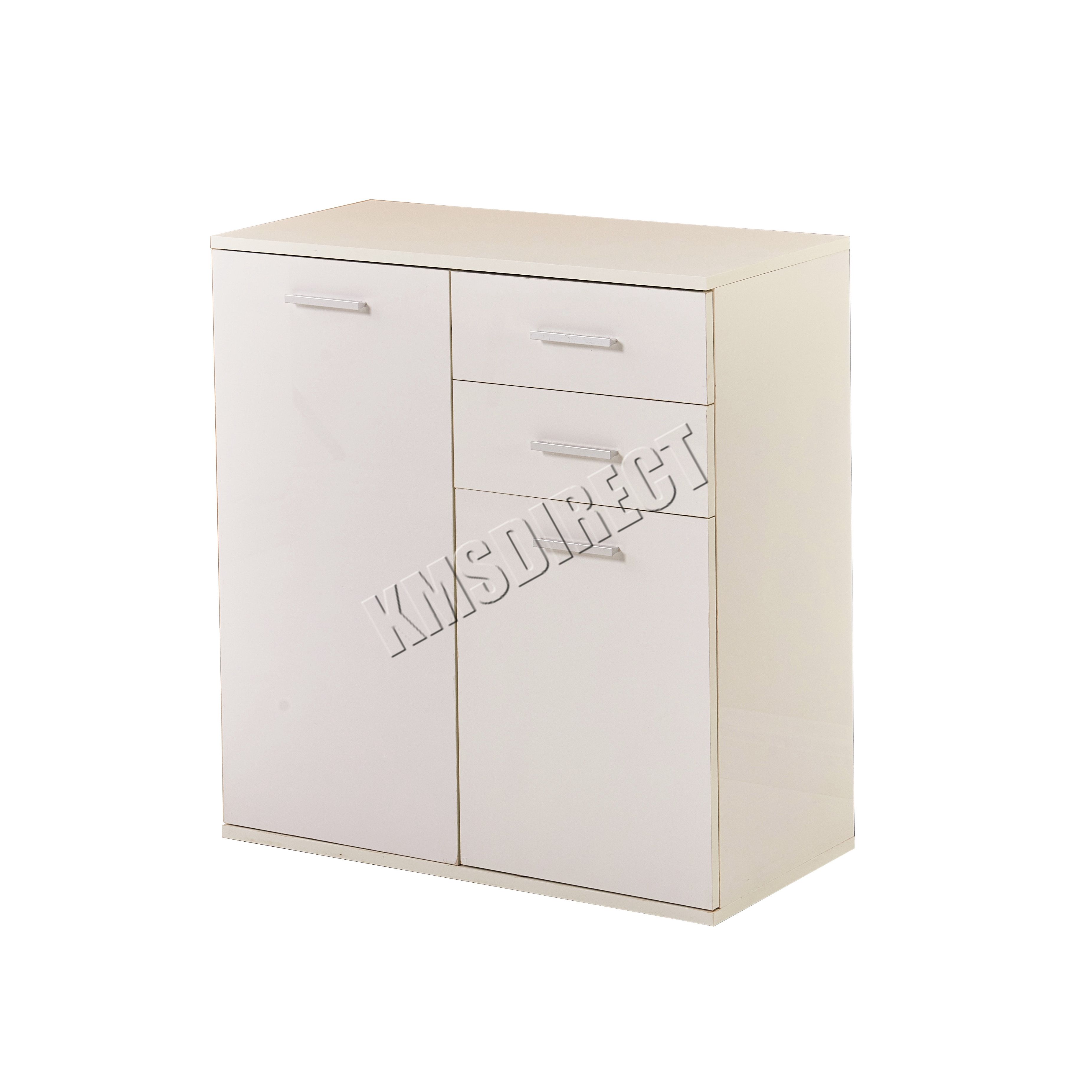 WestWood White High Gloss Cabinet Unit Sideboard 2 Drawers
