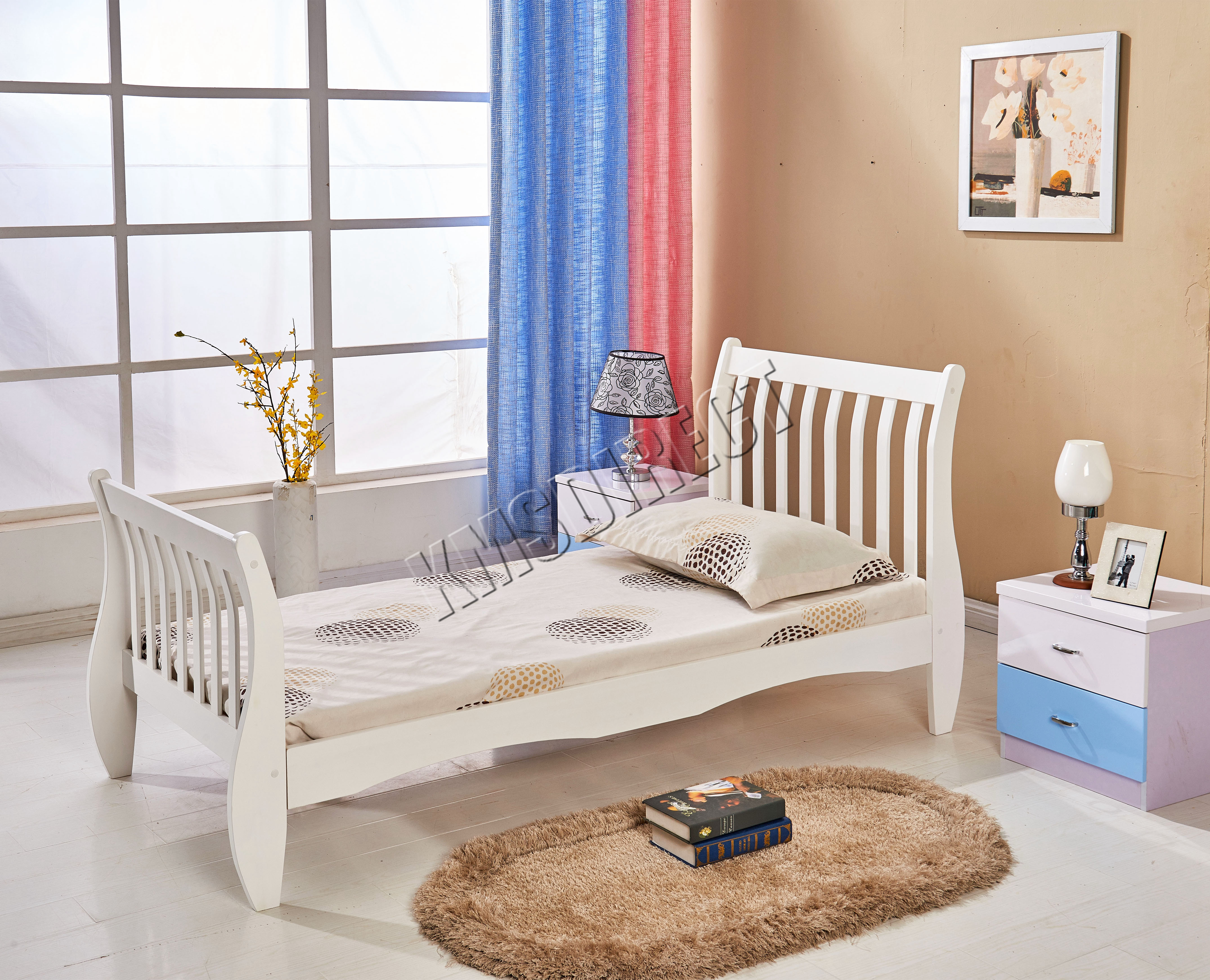 Westwood 3ft single wooden sleigh bed frame pine bedroom - White and pine bedroom furniture ...