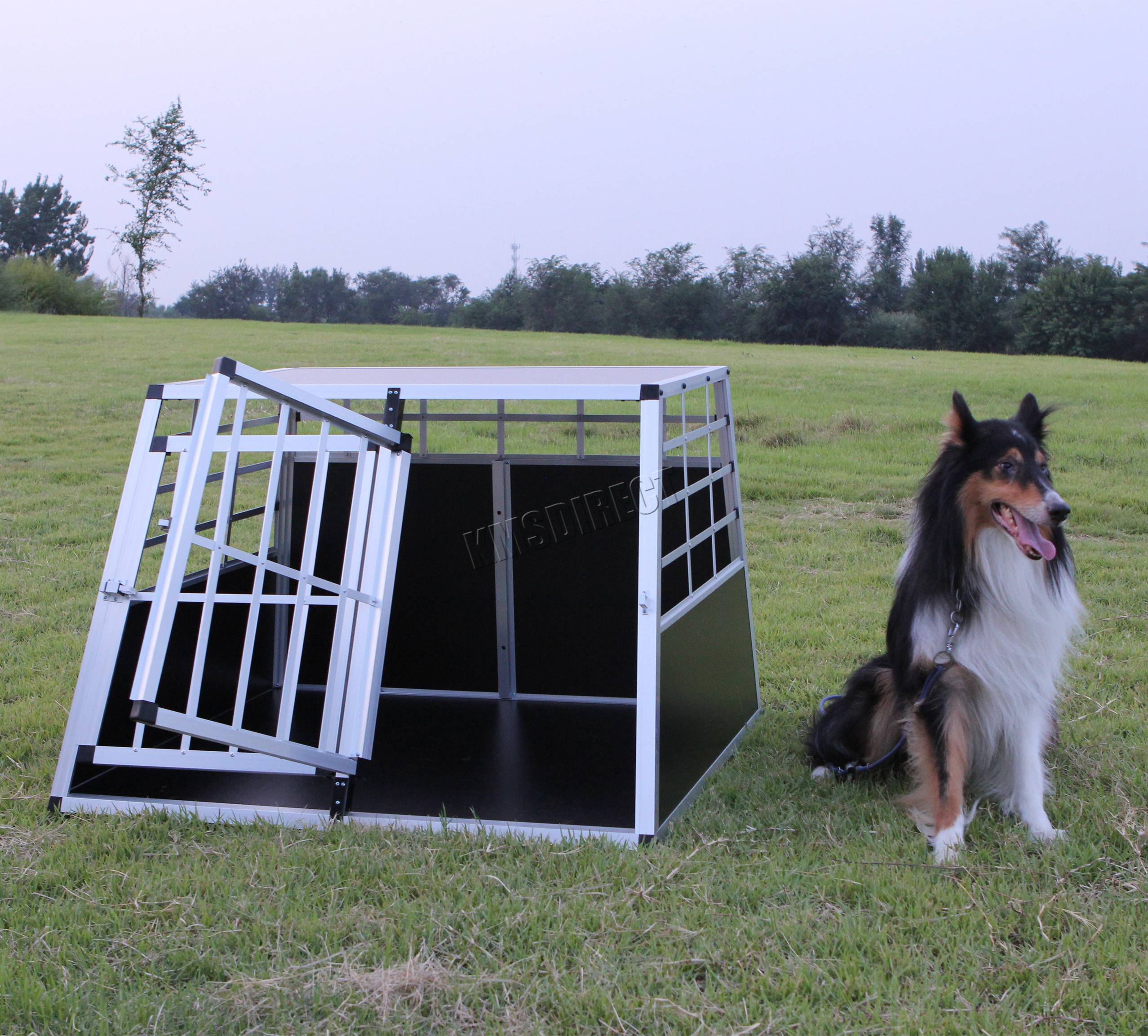 foxhunter aluminium chien animaux cage kennel grand. Black Bedroom Furniture Sets. Home Design Ideas