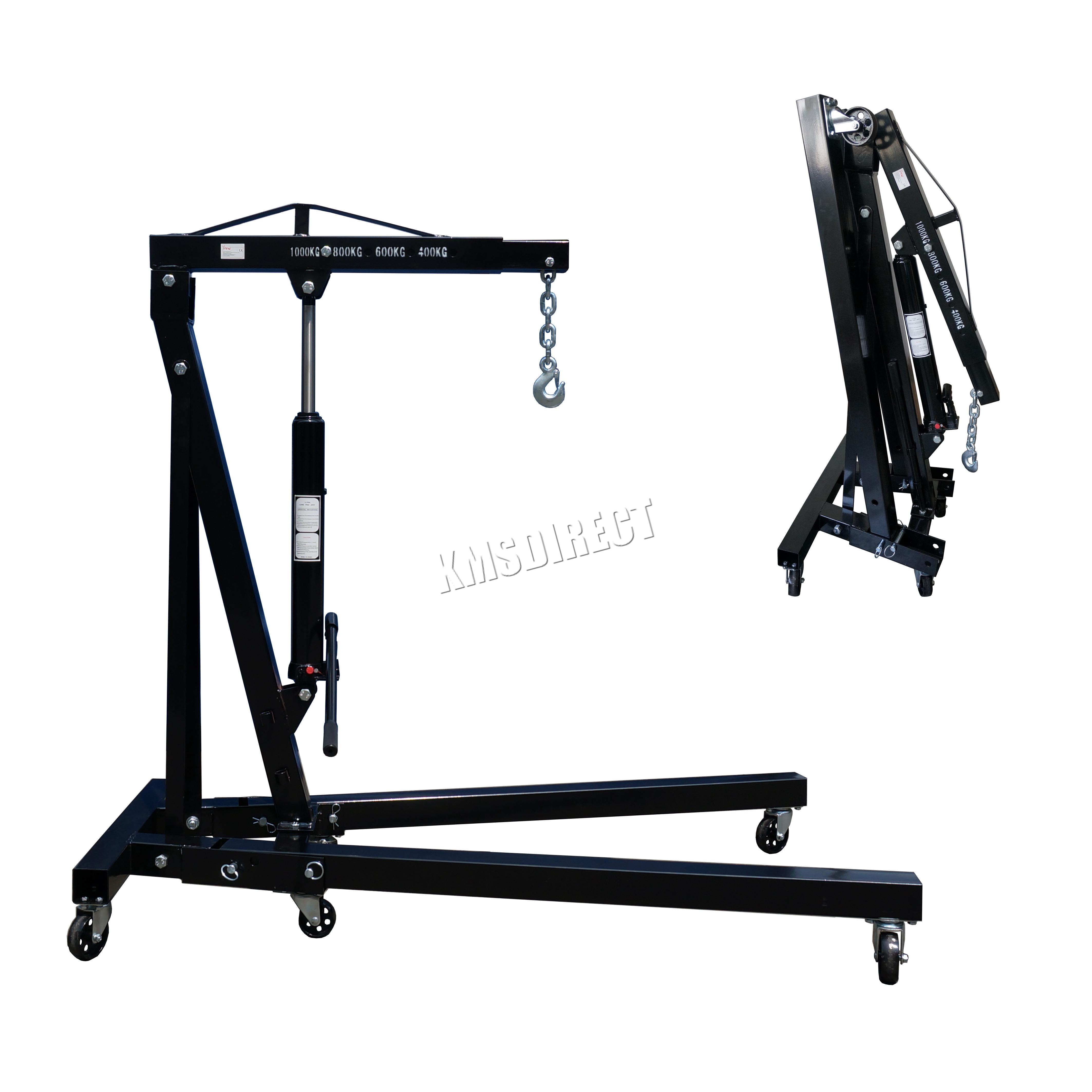 Folding Jack Stands >> FoxHunter 1 Ton Hydraulic Folding Engine Crane Hoist lift Jack SX0103-2 Black | eBay