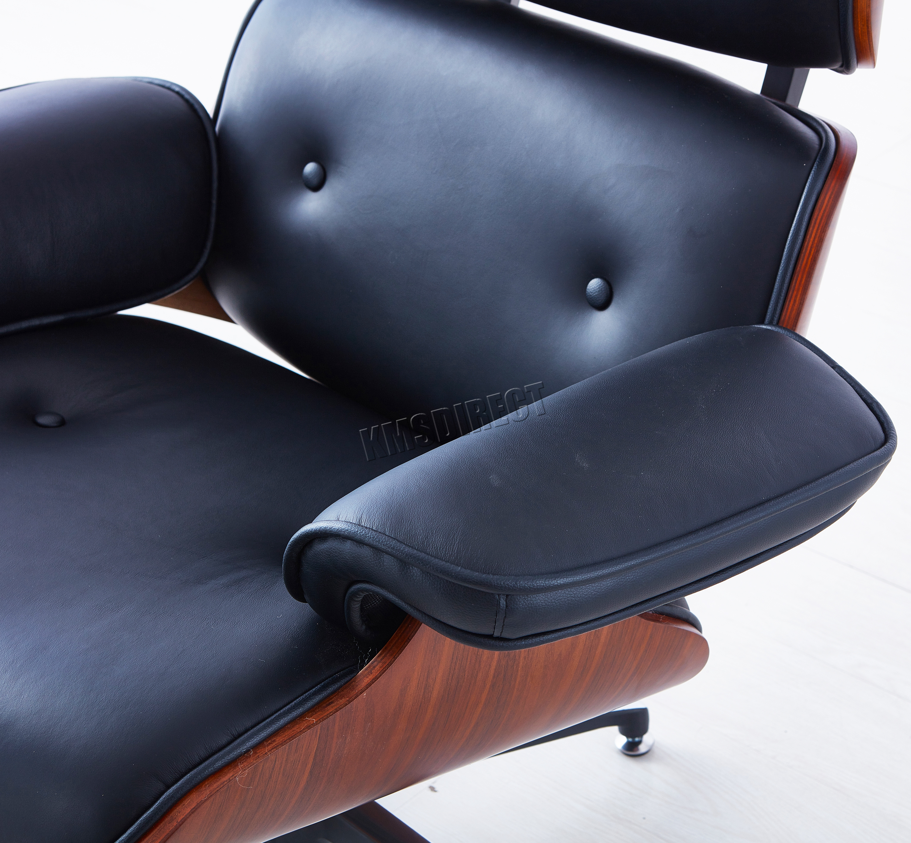 Sentinel FoxHunter Luxury Lounge Chair And Ottoman Genuine Leather Recliner  Seat Black