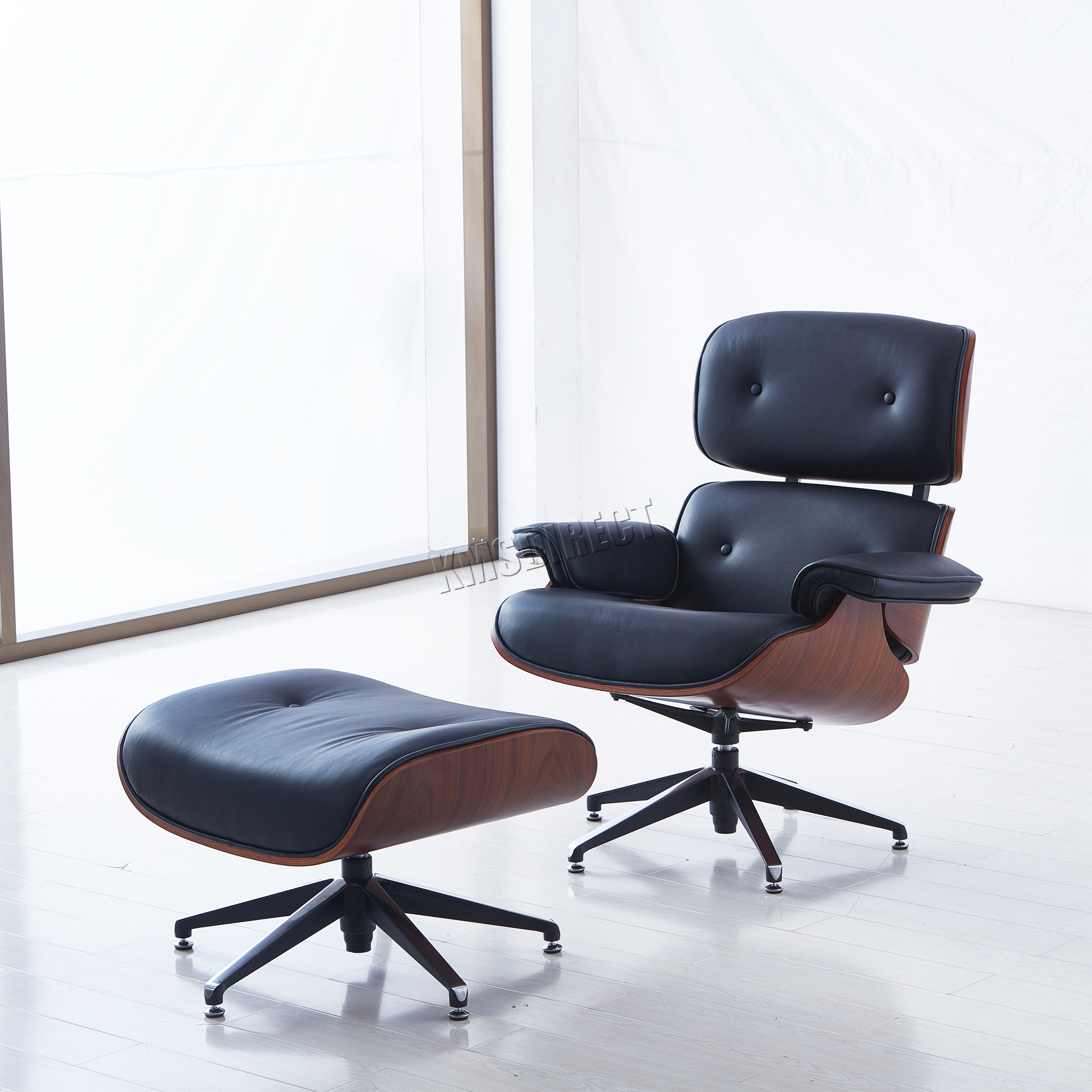 FoxHunter Luxury Lounge Chair And Ottoman Genuine Leather Recliner