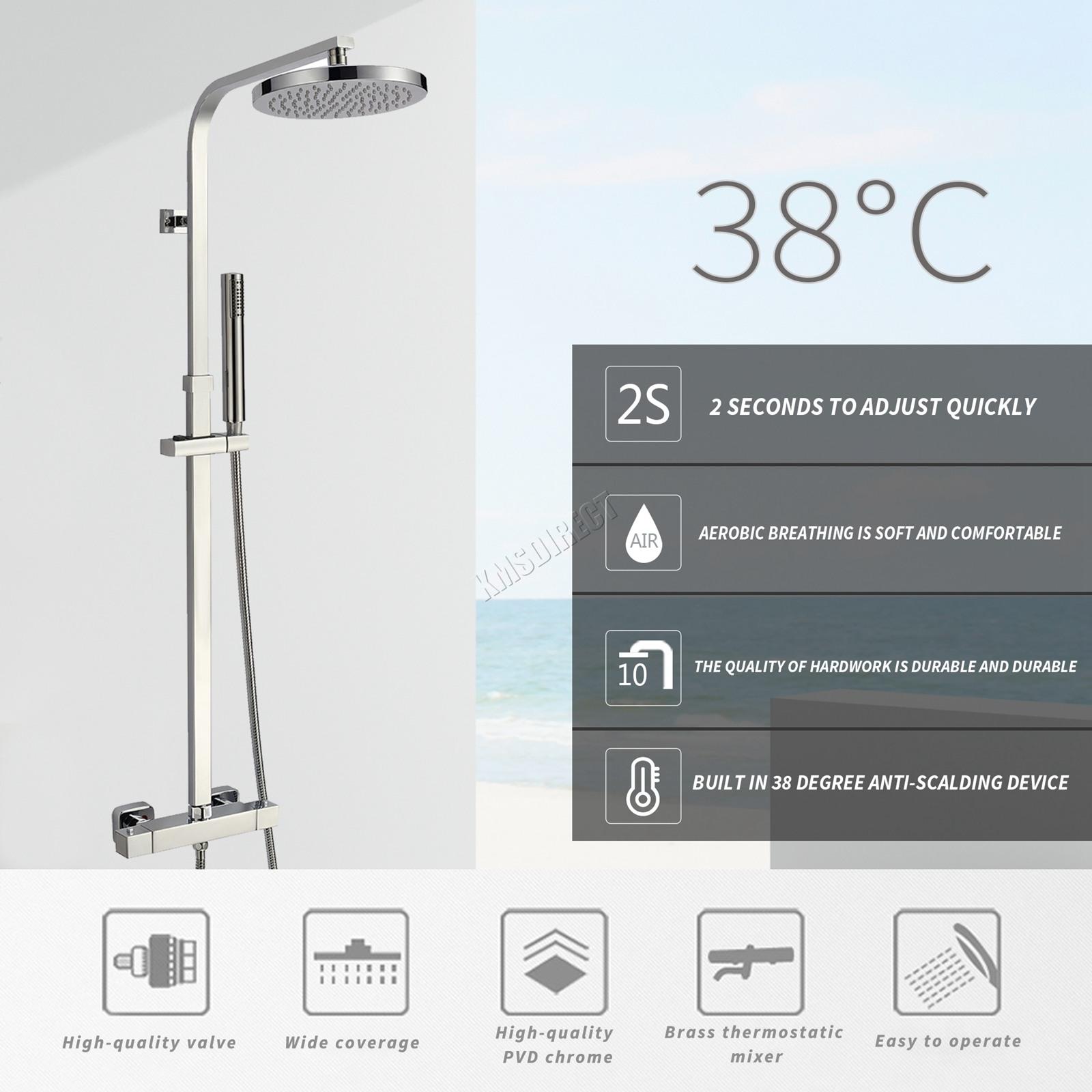 Foxhunter bathroom mixer shower set twin head round square chrome thermostatic ebay - Bagno termostatico ...