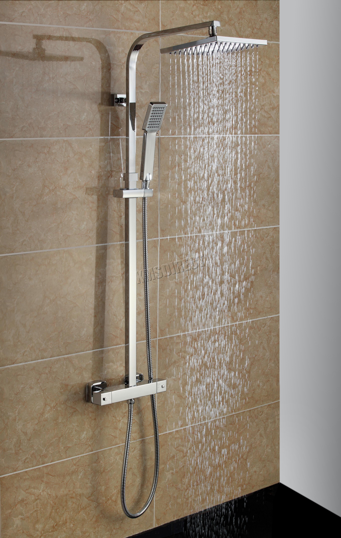 FoxHunter Bathroom Mixer Shower Set Twin Head Square Chrome SS04 ...