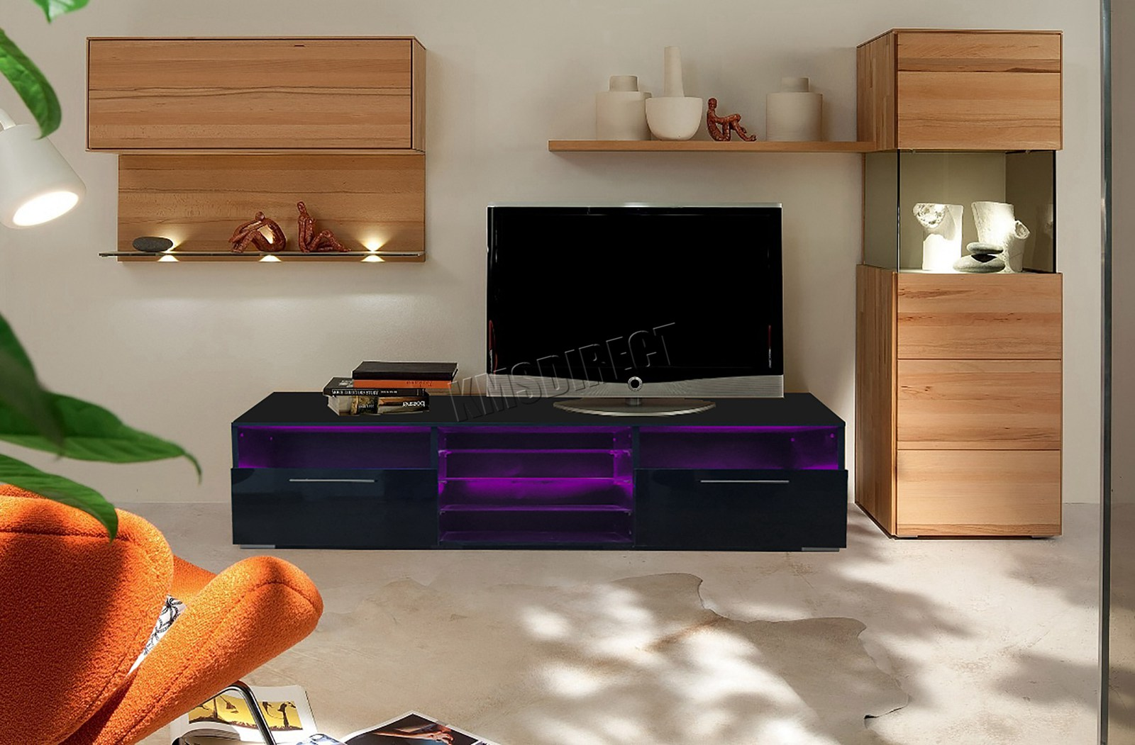 Westwood Modern Led Tv Unit Stand Cabinet High Gloss Doors Matte
