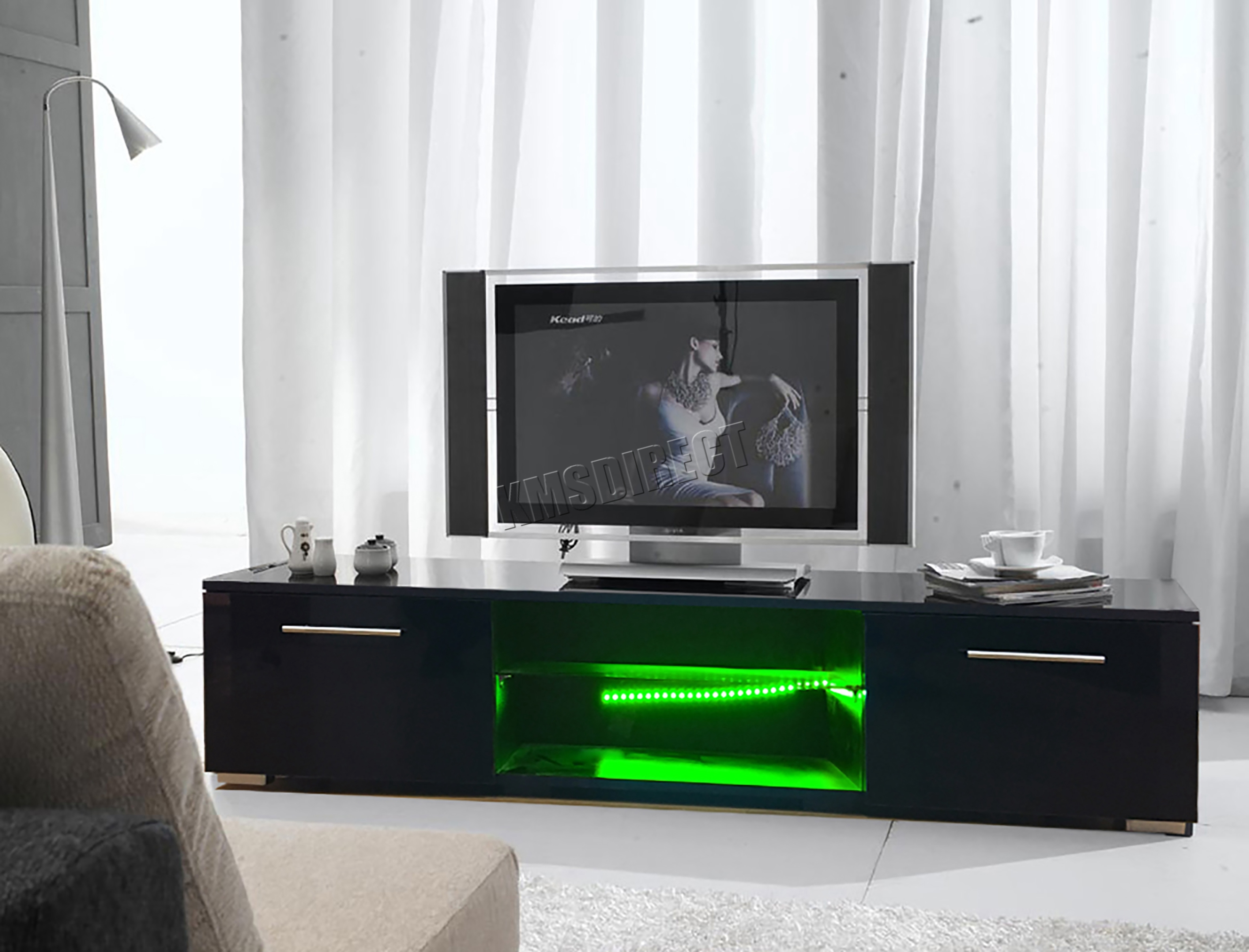 Sentinel FoxHunter Modern High Gloss Matt TV Cabinet Unit Stand Black RGB  LED Light TVC12