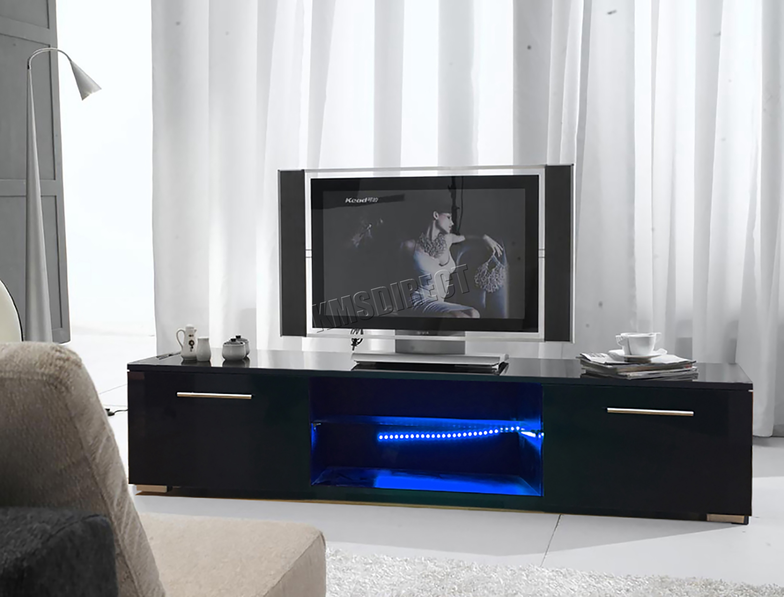 Sentinel Foxhunter Modern High Gloss Matt Tv Cabinet Unit Stand Black Rgb Led Light Tvc12