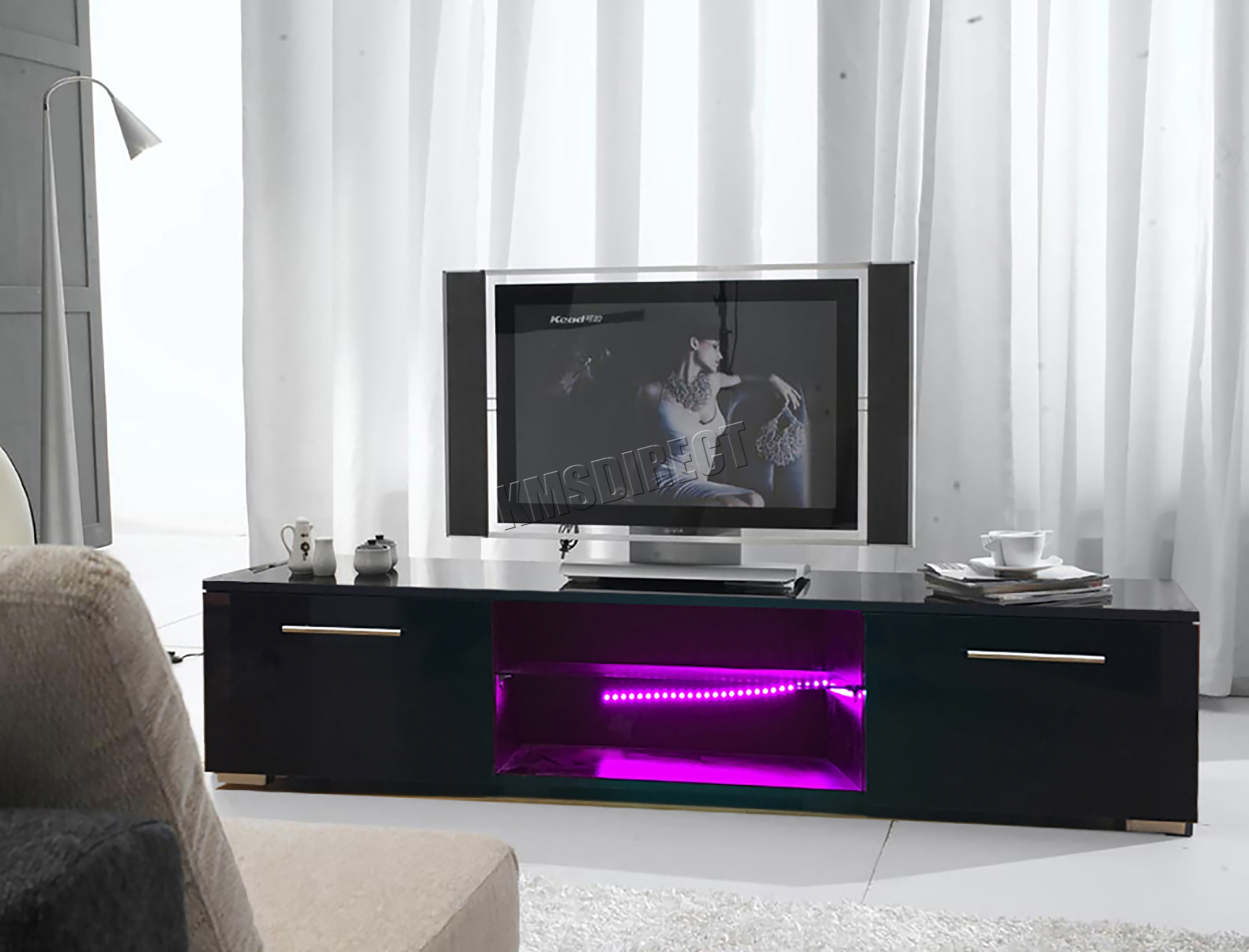 Foxhunter Modern High Gloss Matt Tv Cabinet Unit Stand Rgb Led  # Meuble Tv Moderne Led