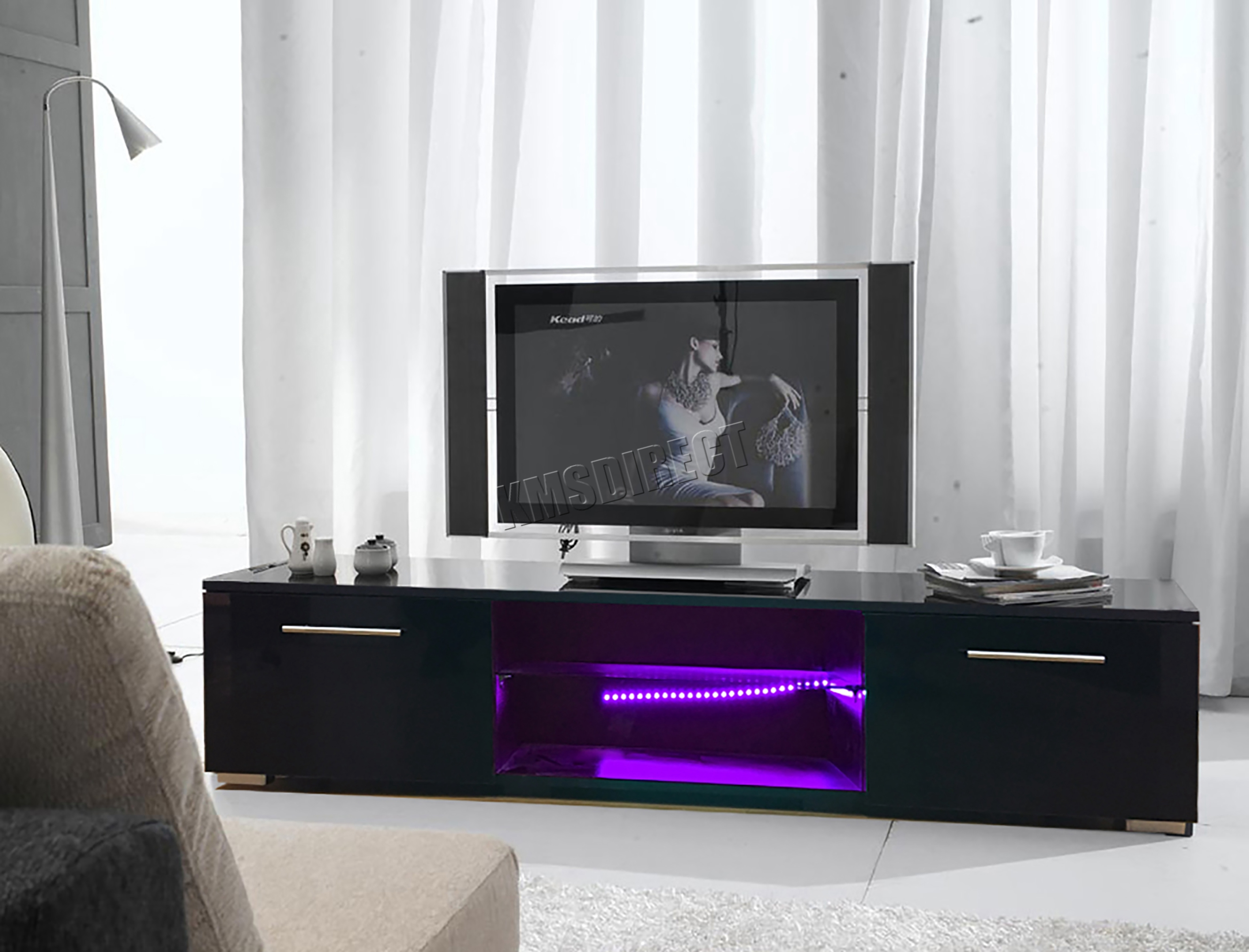 Foxhunter Modern High Gloss Matt Tv Cabinet Unit Stand Rgb Led  # Meuble Tv Violet