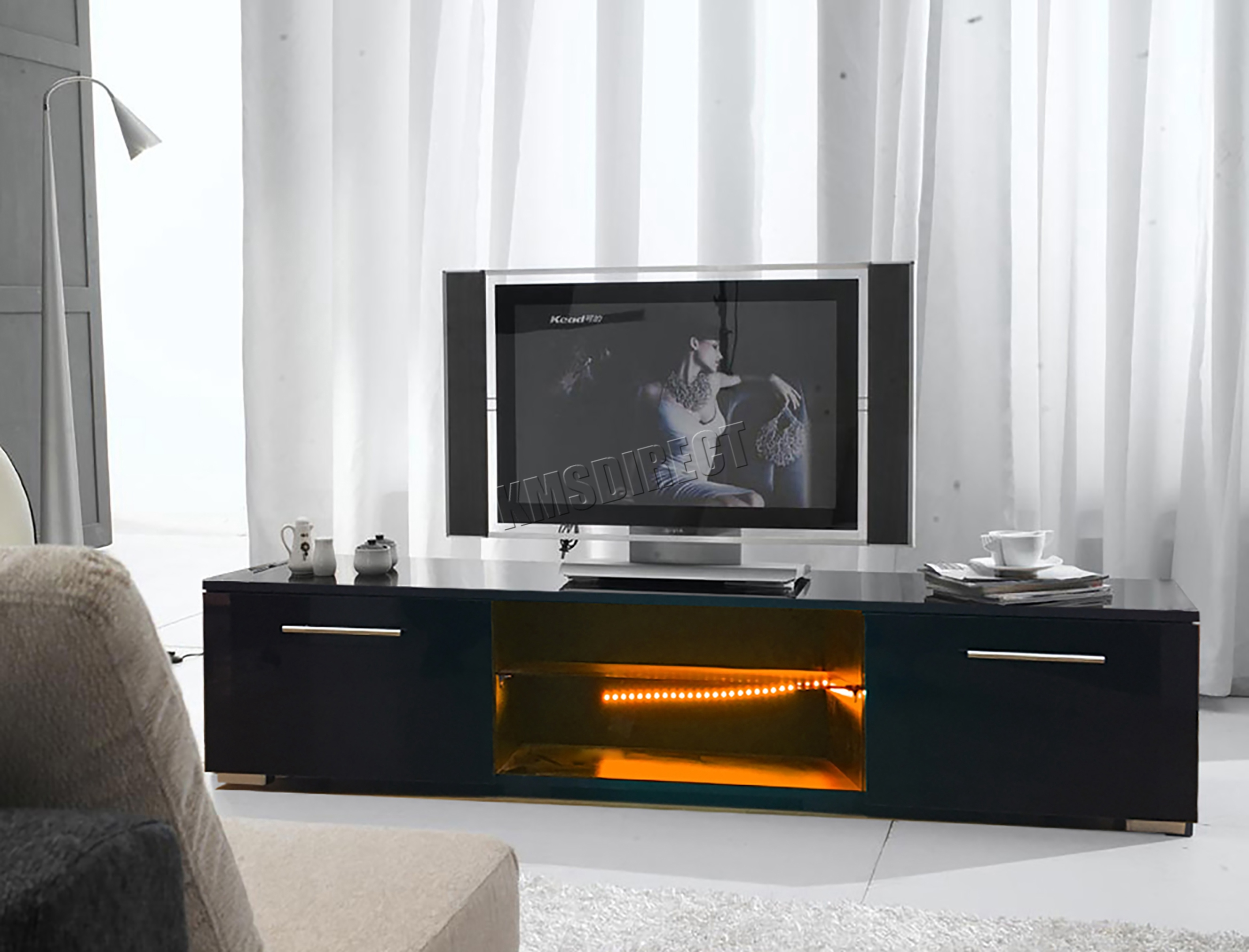 Foxhunter Modern High Gloss Matt Tv Cabinet Unit Stand Rgb Led  # Living Meuble Tv