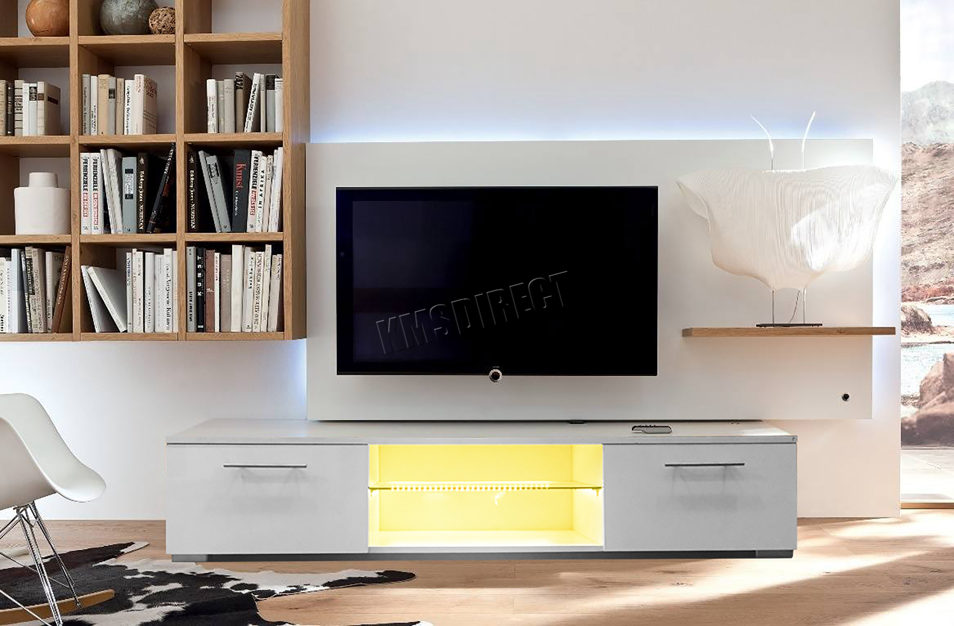 Foxhunter Modern High Gloss Matt Tv Cabinet Unit Stand Rgb Led  # Meuble Living Tv Moderne
