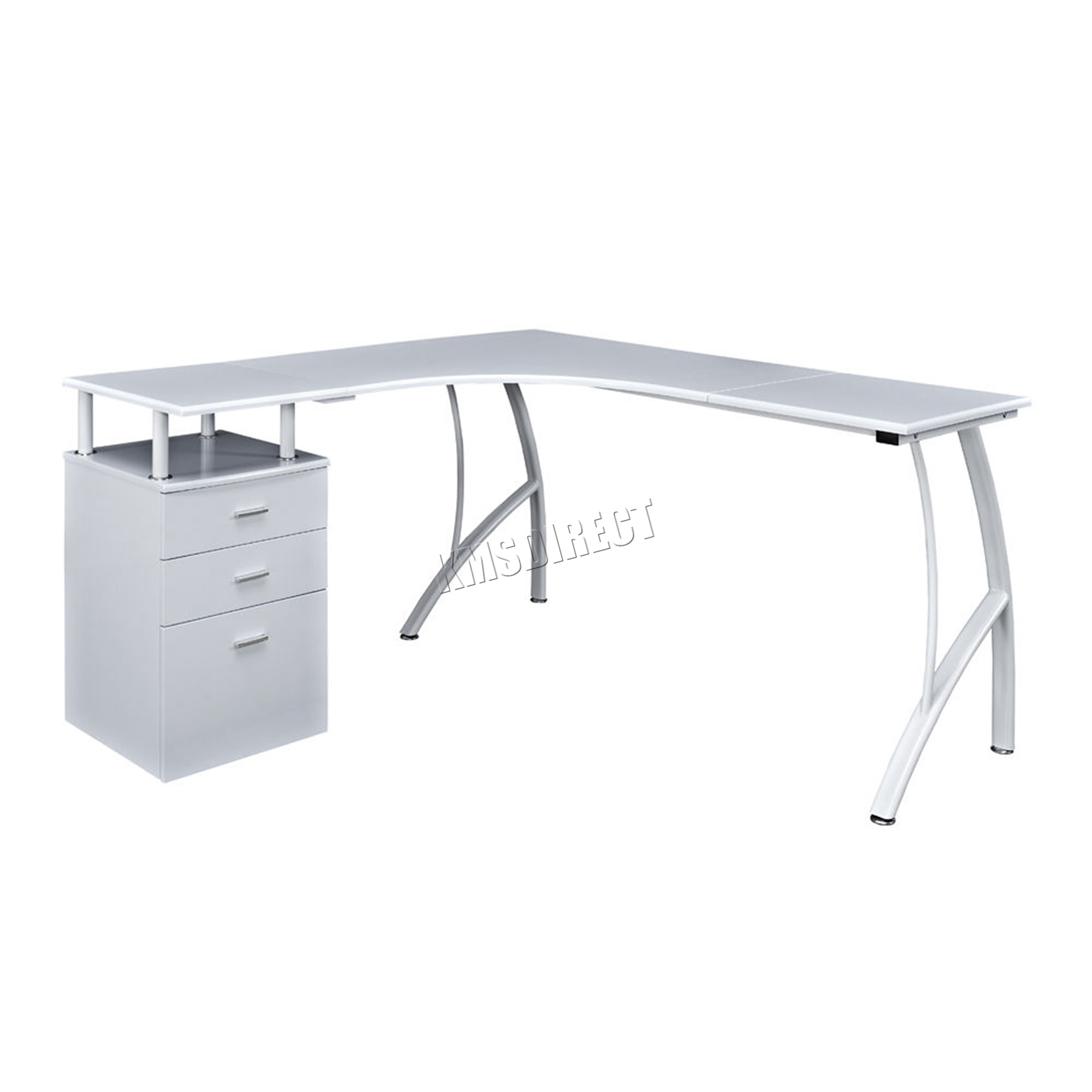 Sentinel Westwood L Shaped Corner Computer Desk Pc Table Home Office Study Cd04 White