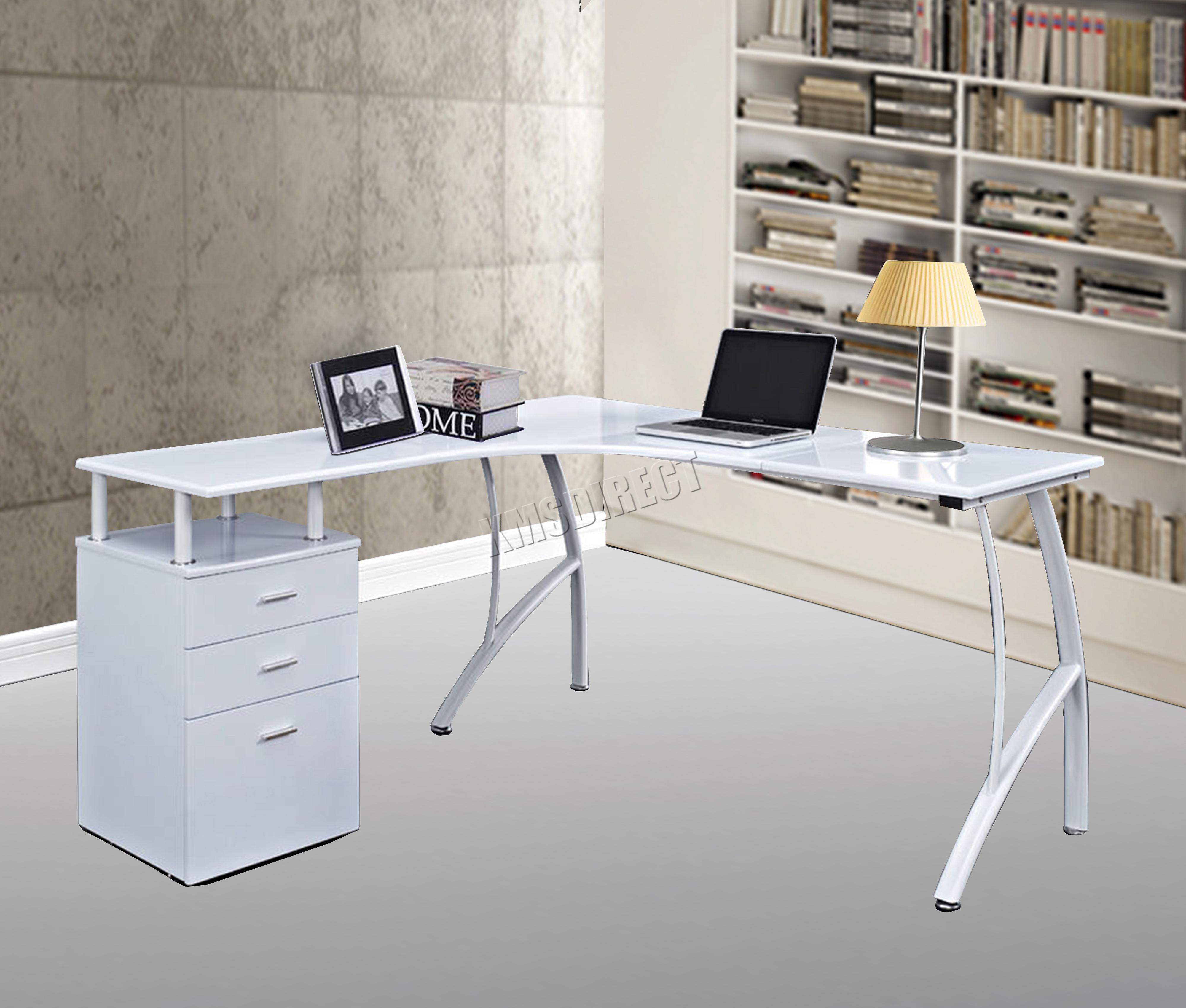L Shaped Corner Desk Computer Workstation Home Office: WestWood L-Shaped Corner Computer Desk PC Table Home