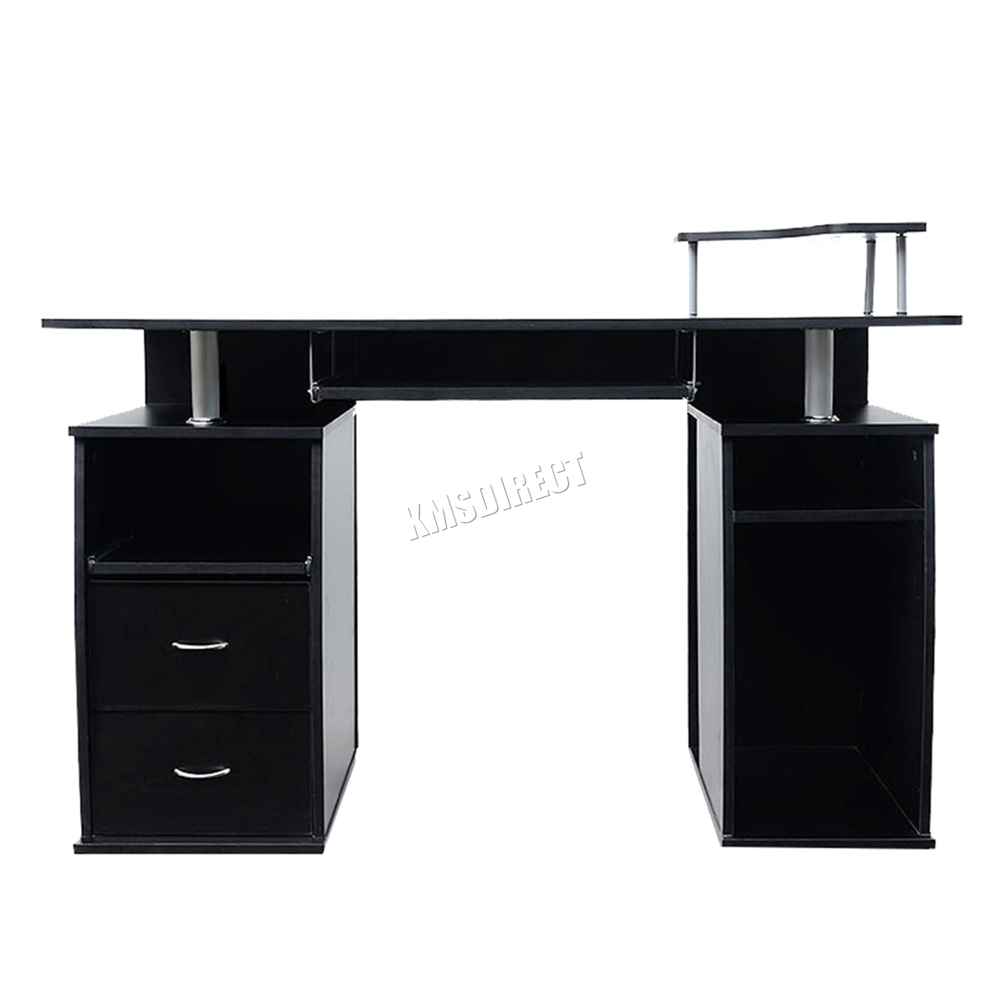 Sentinel Westwood Computer Desk Pc Table With Shelves Drawers Home Office Cd05 Black