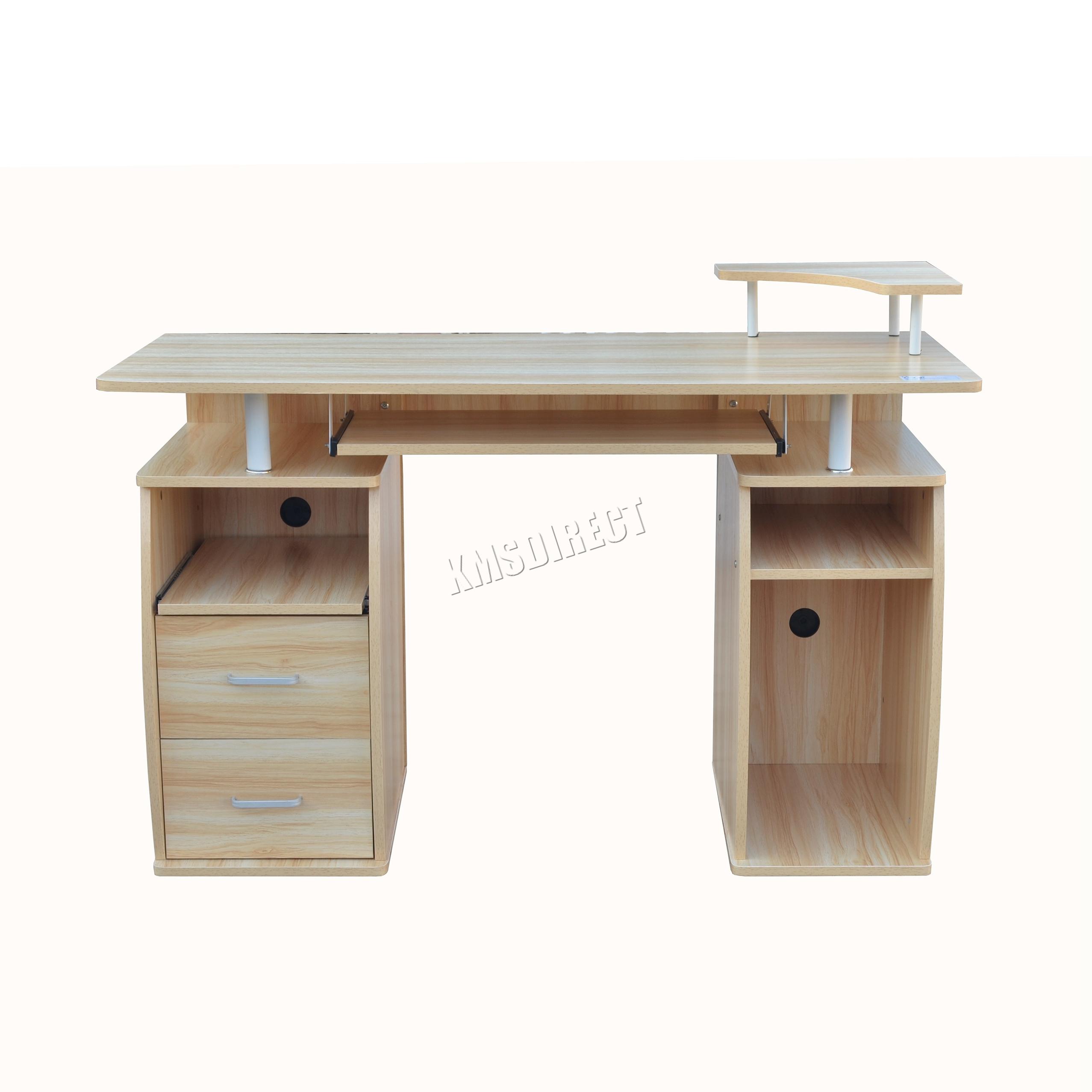 Foxhunter computador escritorio pc mesa con estanter as - Mesa escritorio con cajones ...
