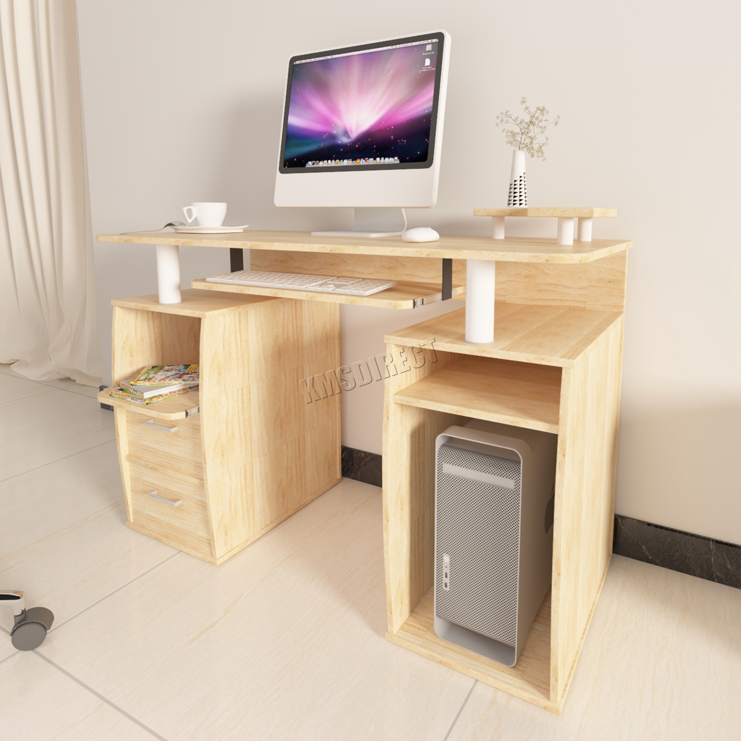 FoxHunter Computer Desk PC Table With Shelves Drawers