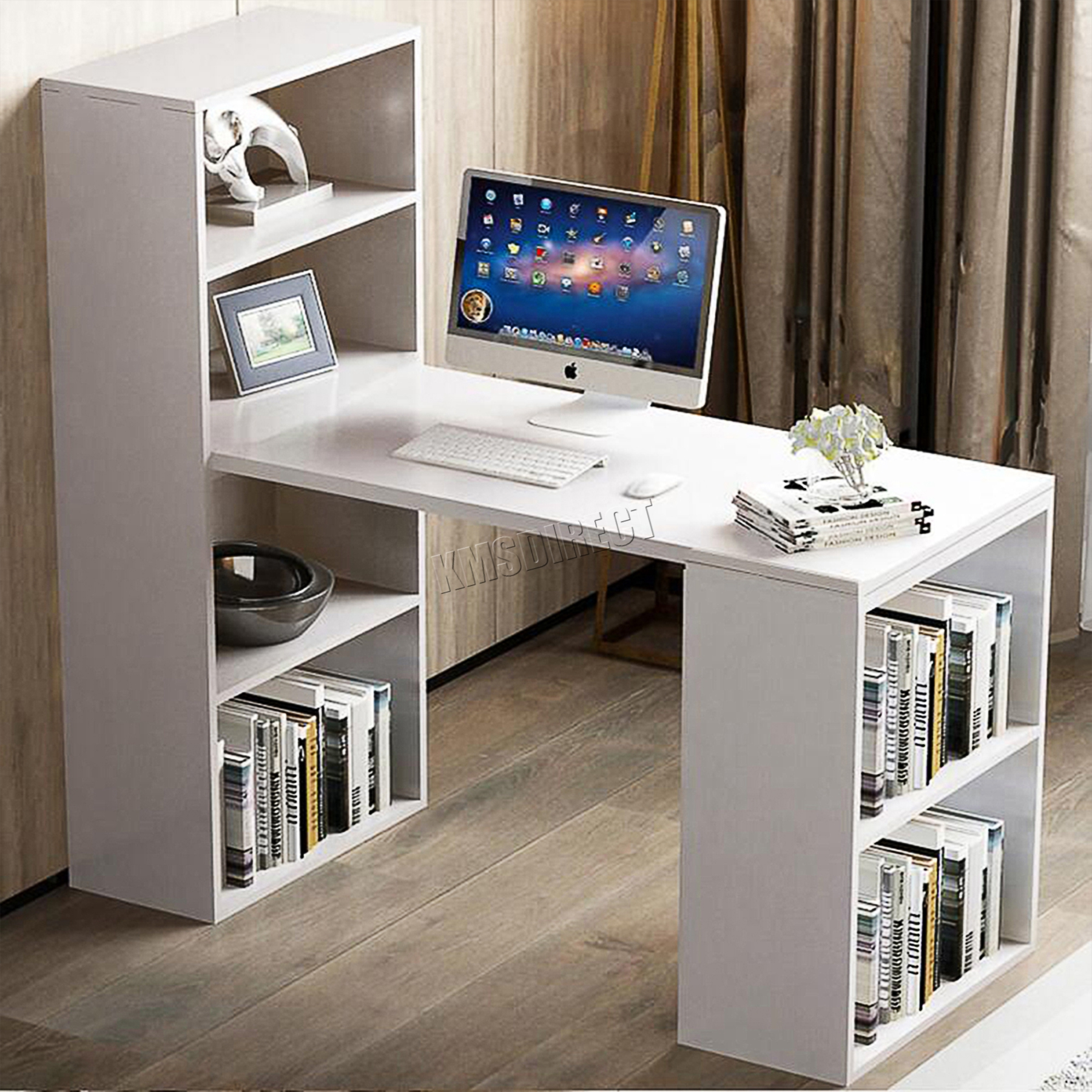 FoxHunter Multifunction Computer Desk 2 Large Shelves Home