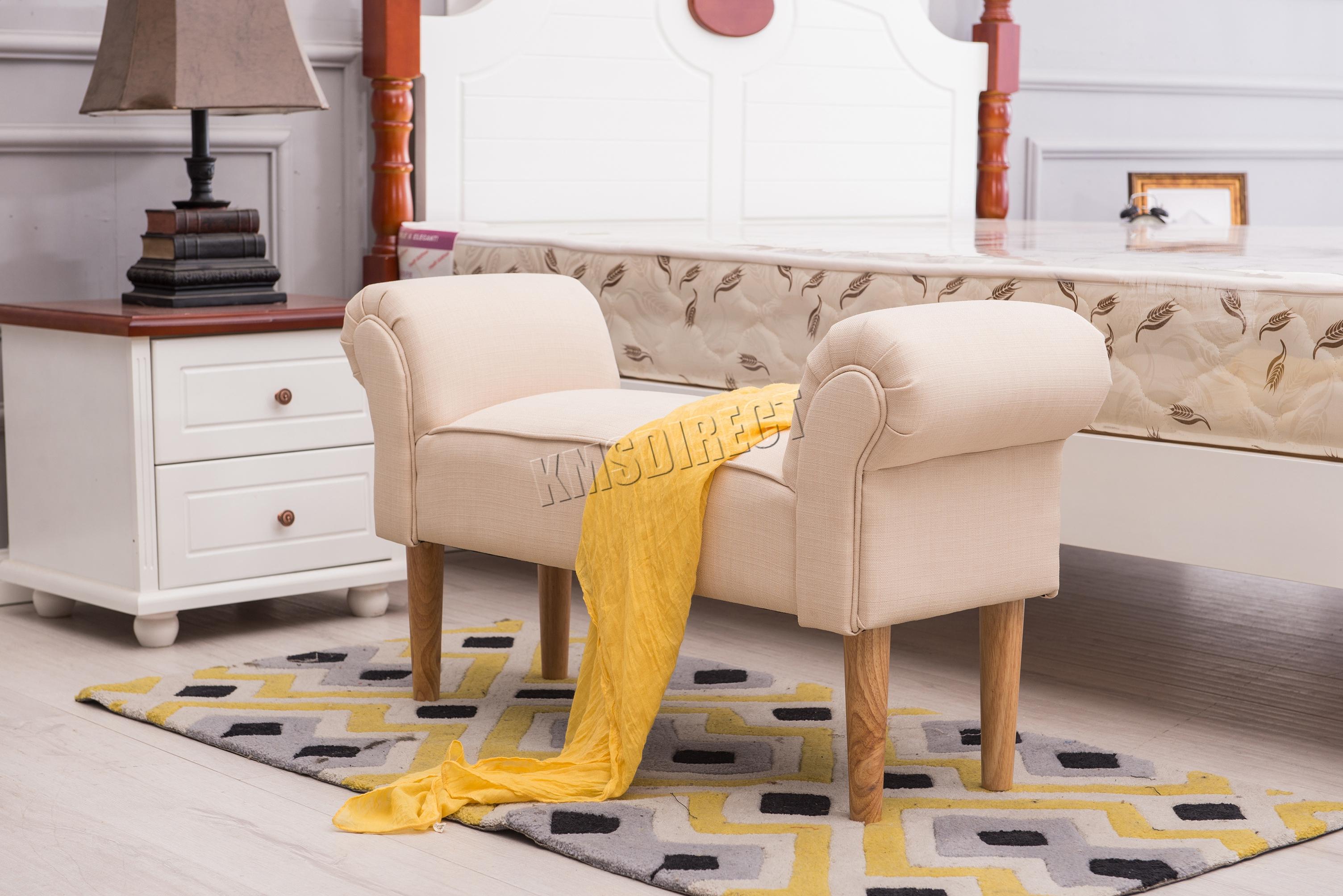 Sentinel FoxHunter Fabric Bench Footstool Seat Pouf Pouffee Ottoman Stool  Bedroom Cream