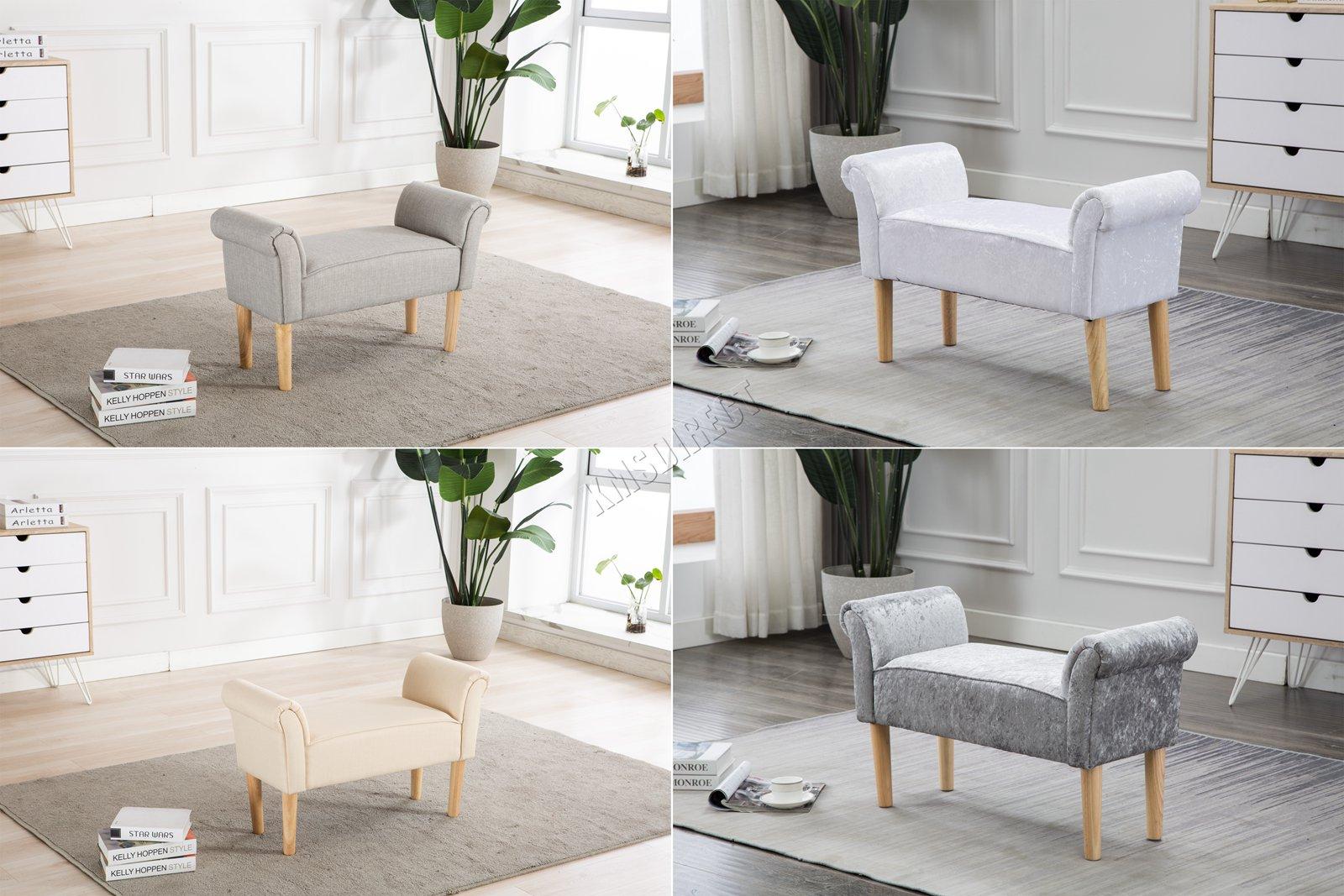 FoxHunter Fabric Bench Footstool Seat Pouf Pouffee Ottoman Stool Bedroom  Lounge