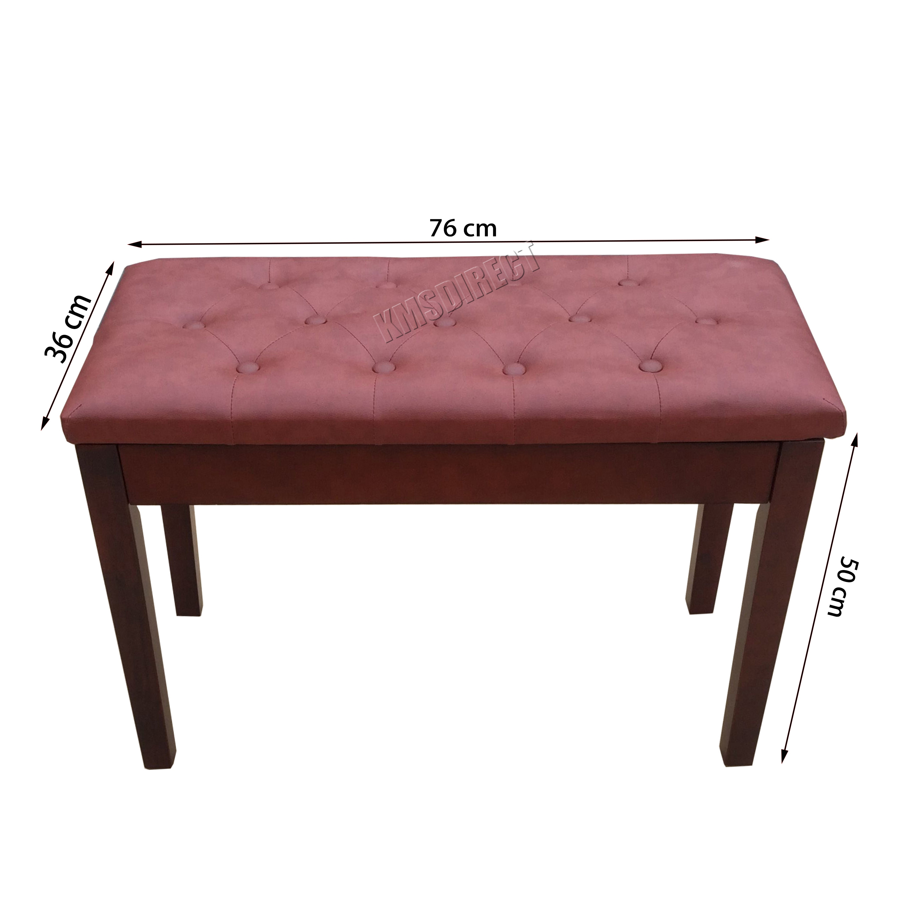 Foxhunter Wood Pu Leather Piano Duet Bench Seat Stool With