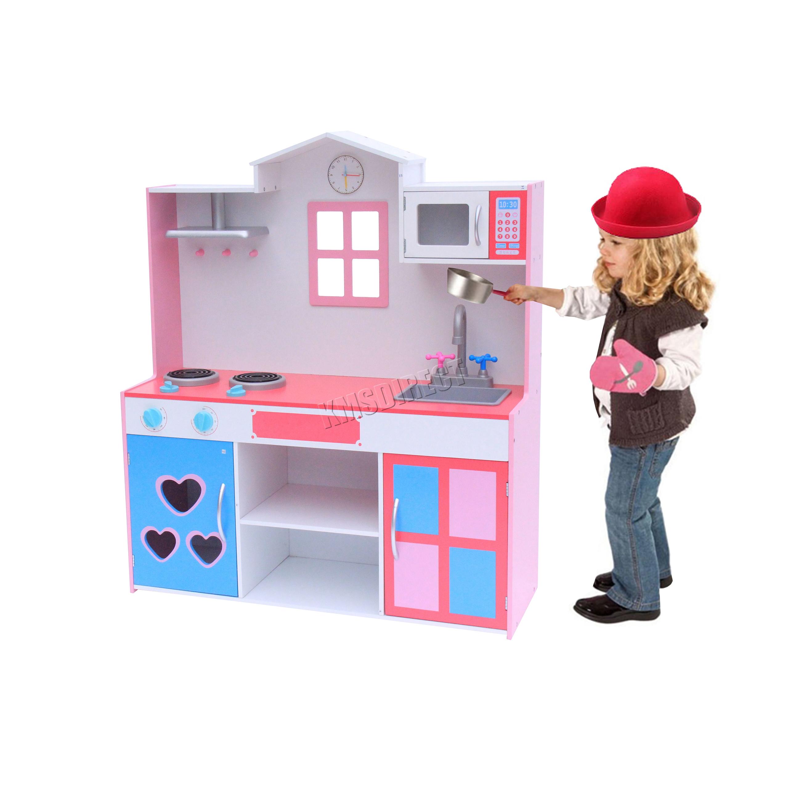 Foxhunter grande cucina in legno giochi giocattolo bambini gioco fai da te rosa ebay - Cucine fai da te in legno ...