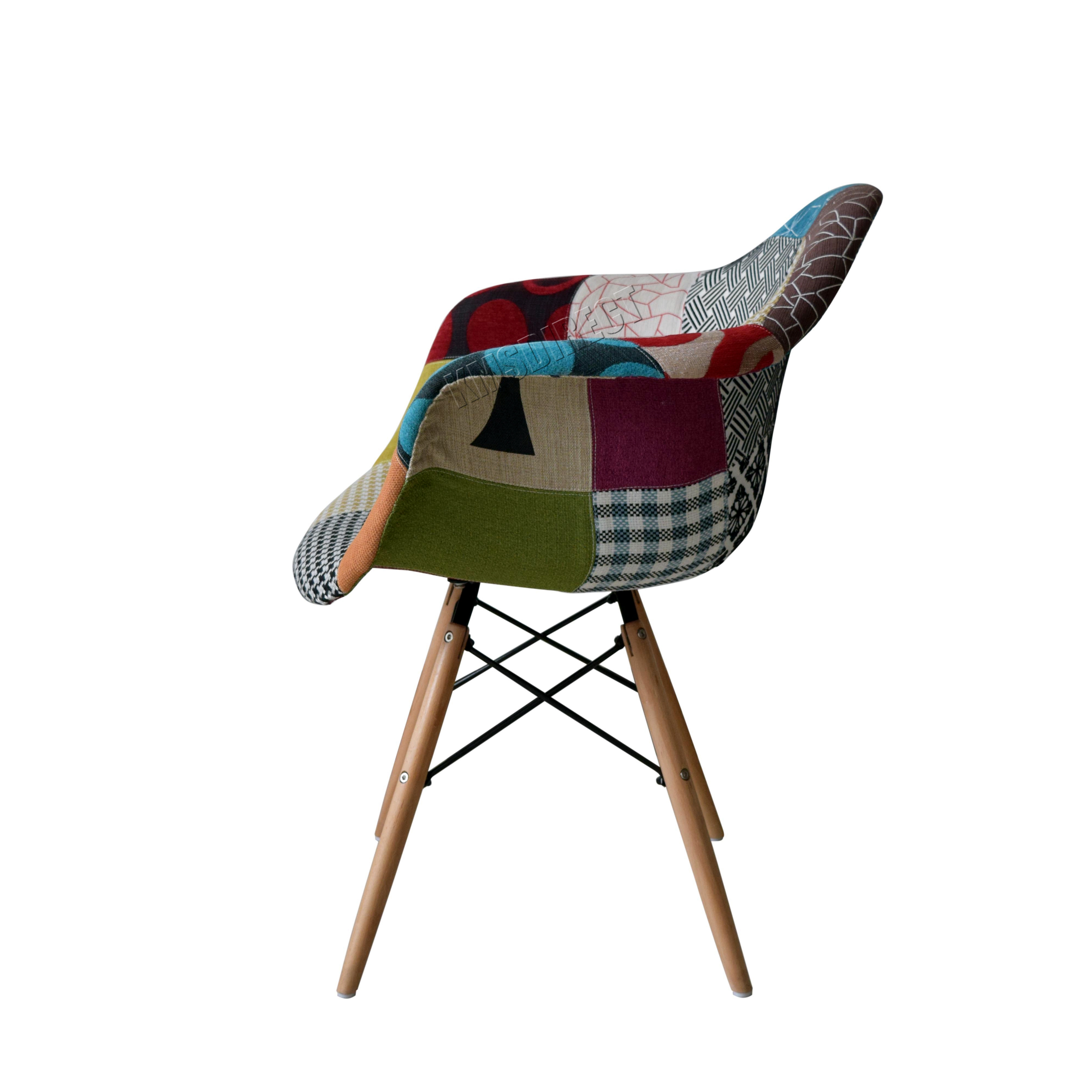 Sentinel FoxHunter Retro Patchwork Chair Armchair Fabric Seat Vintage  Furniture PC002 X2
