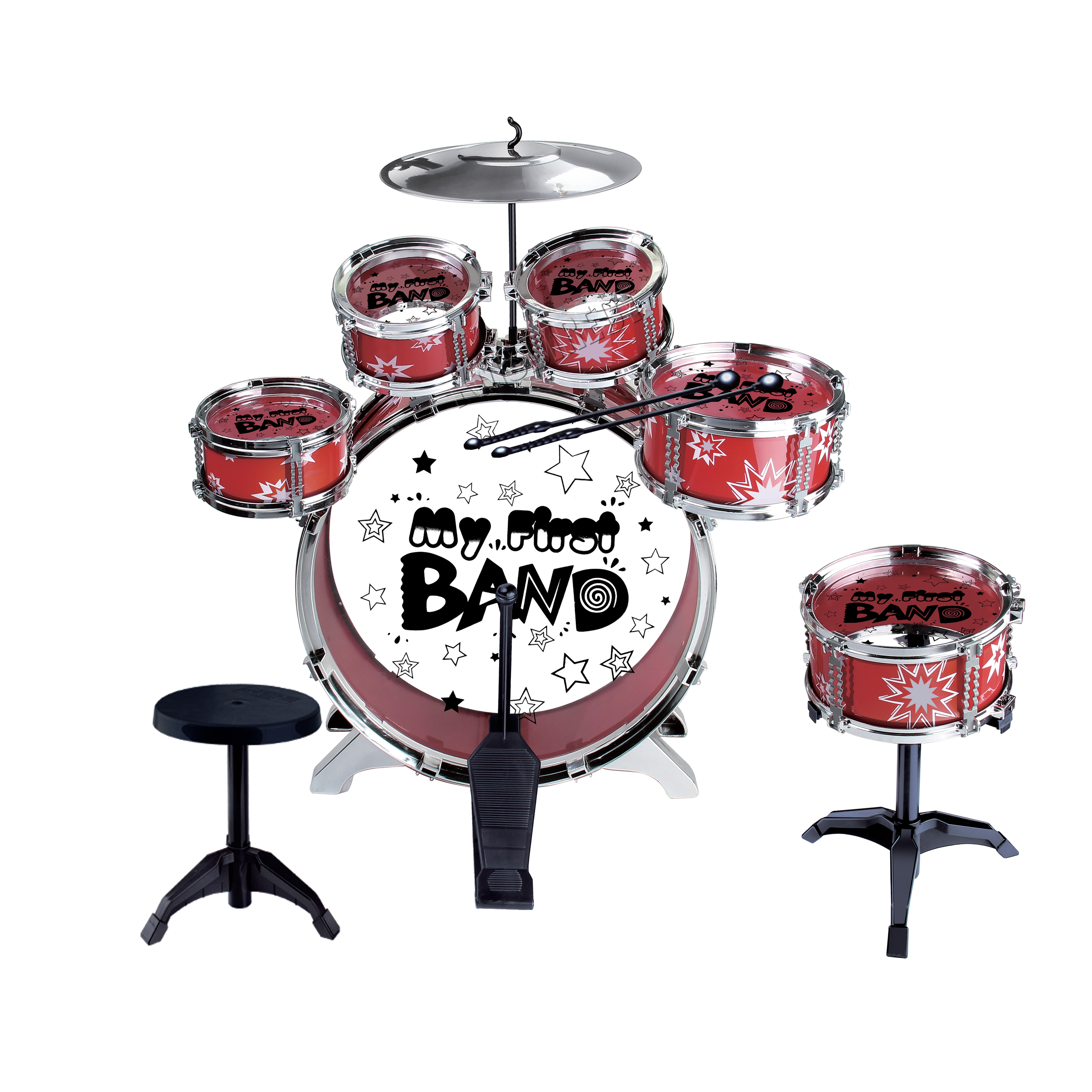 Foxhunter Kids Junior Drum Play Set Kit With Stool Sticks