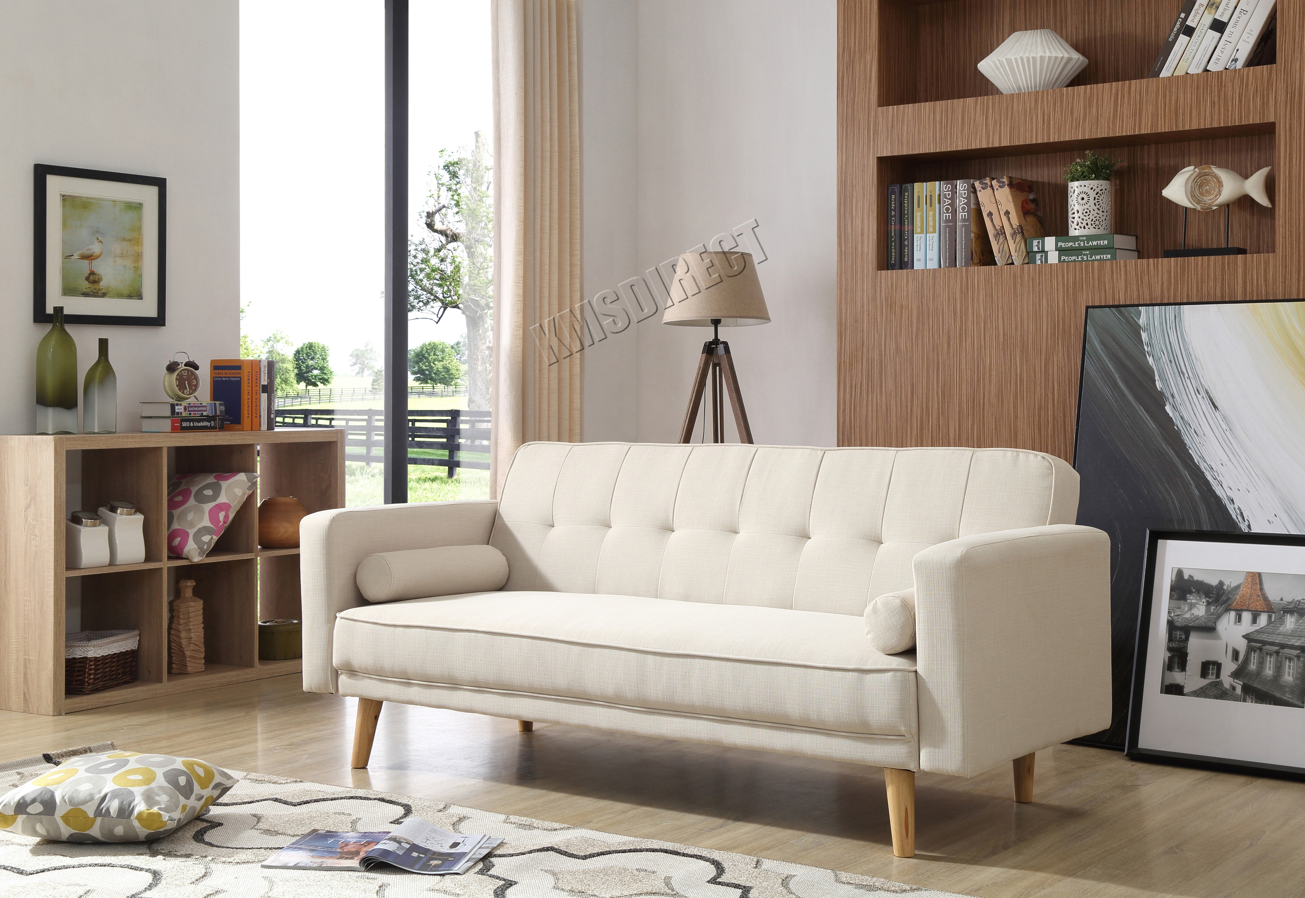 Westwood Fabric Sofa Bed 3 Seater Couch Luxury Home