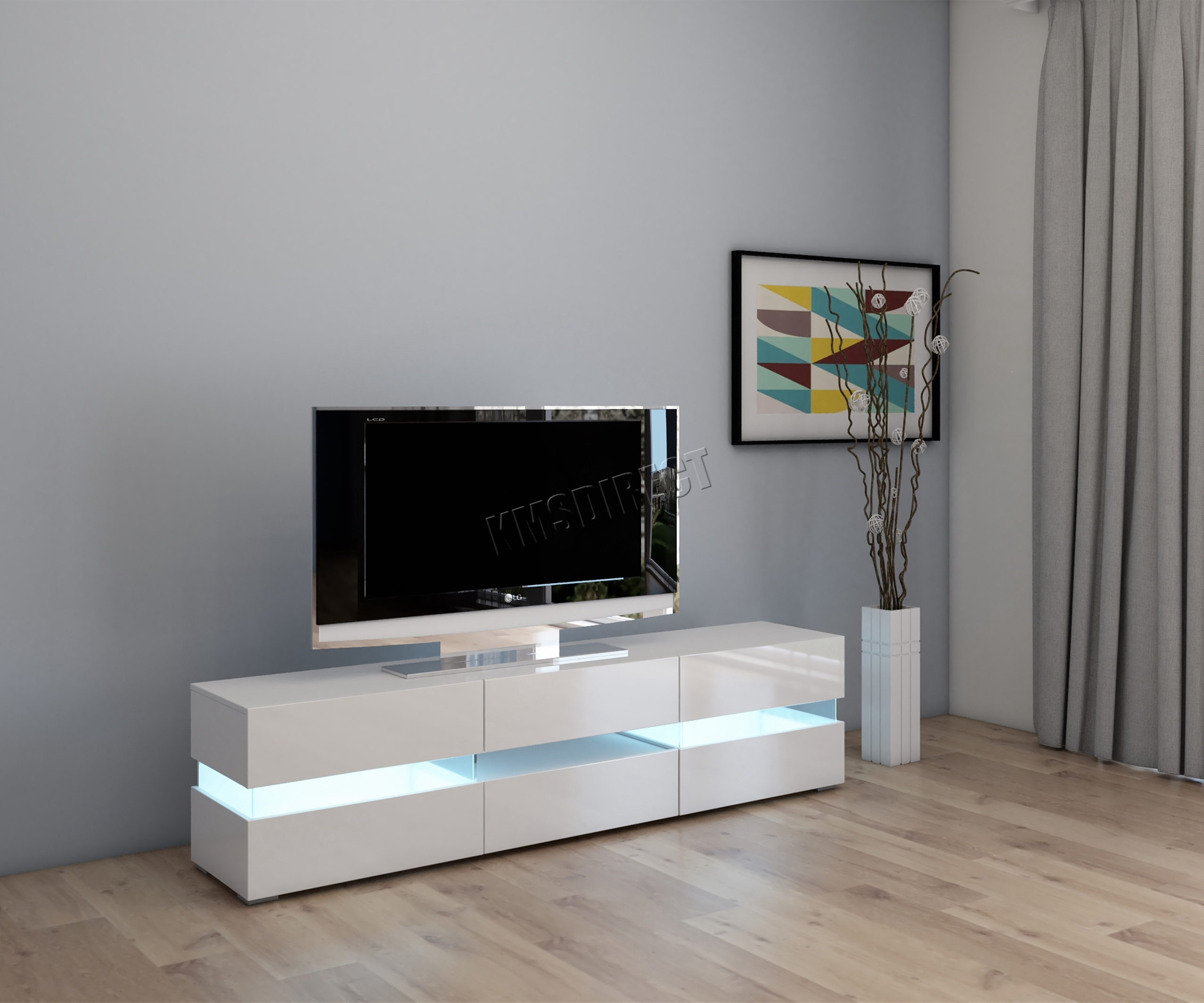 Sentinel Cosmetic Damaged Modern High Gloss Matt Tv Cabinet Unit Stand White Rgb Led
