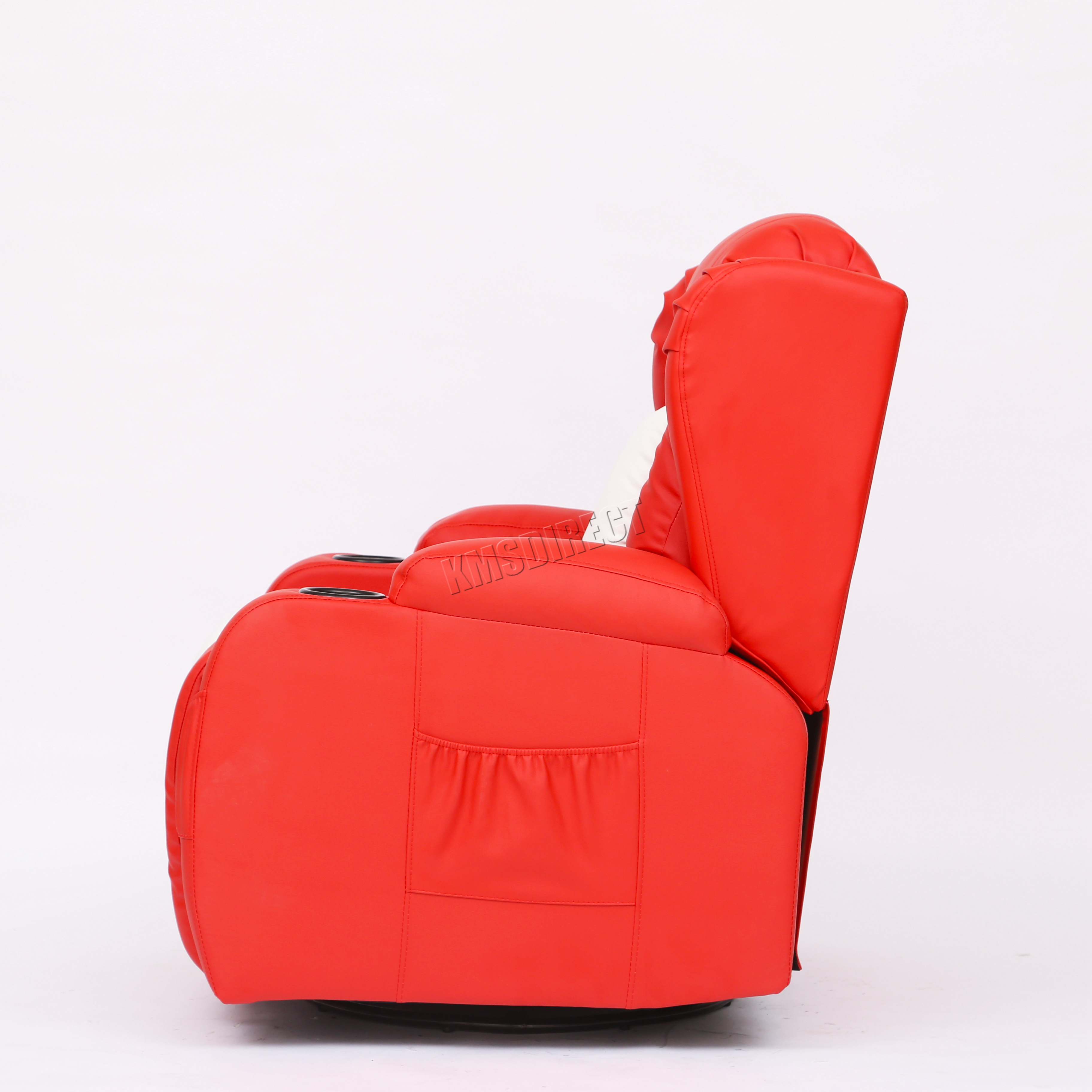 Foxhunter leather massage recliner sofa chair swivel for Red white sofa