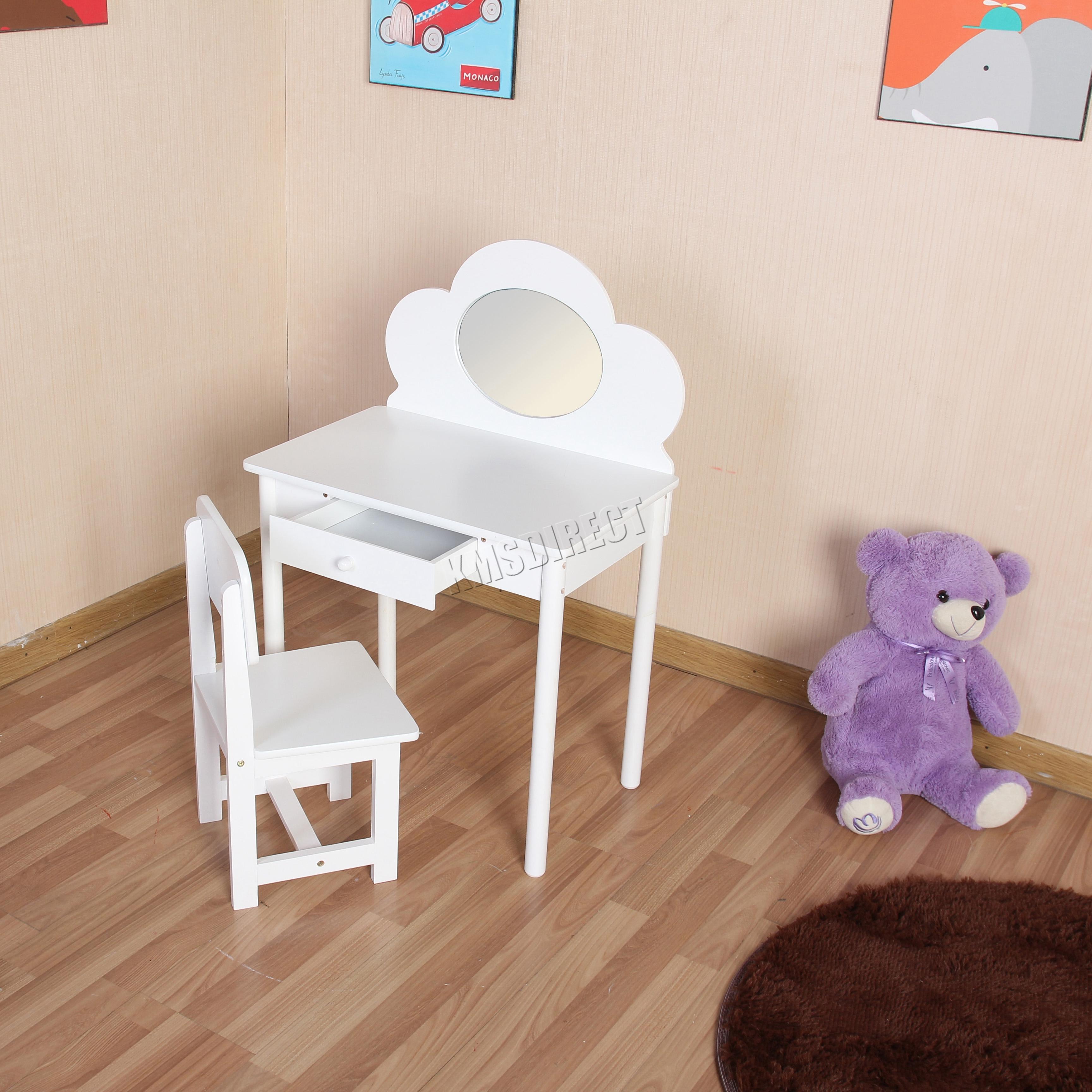 FoxHunter Kids Girls Dressing Table Chair Set Makeup