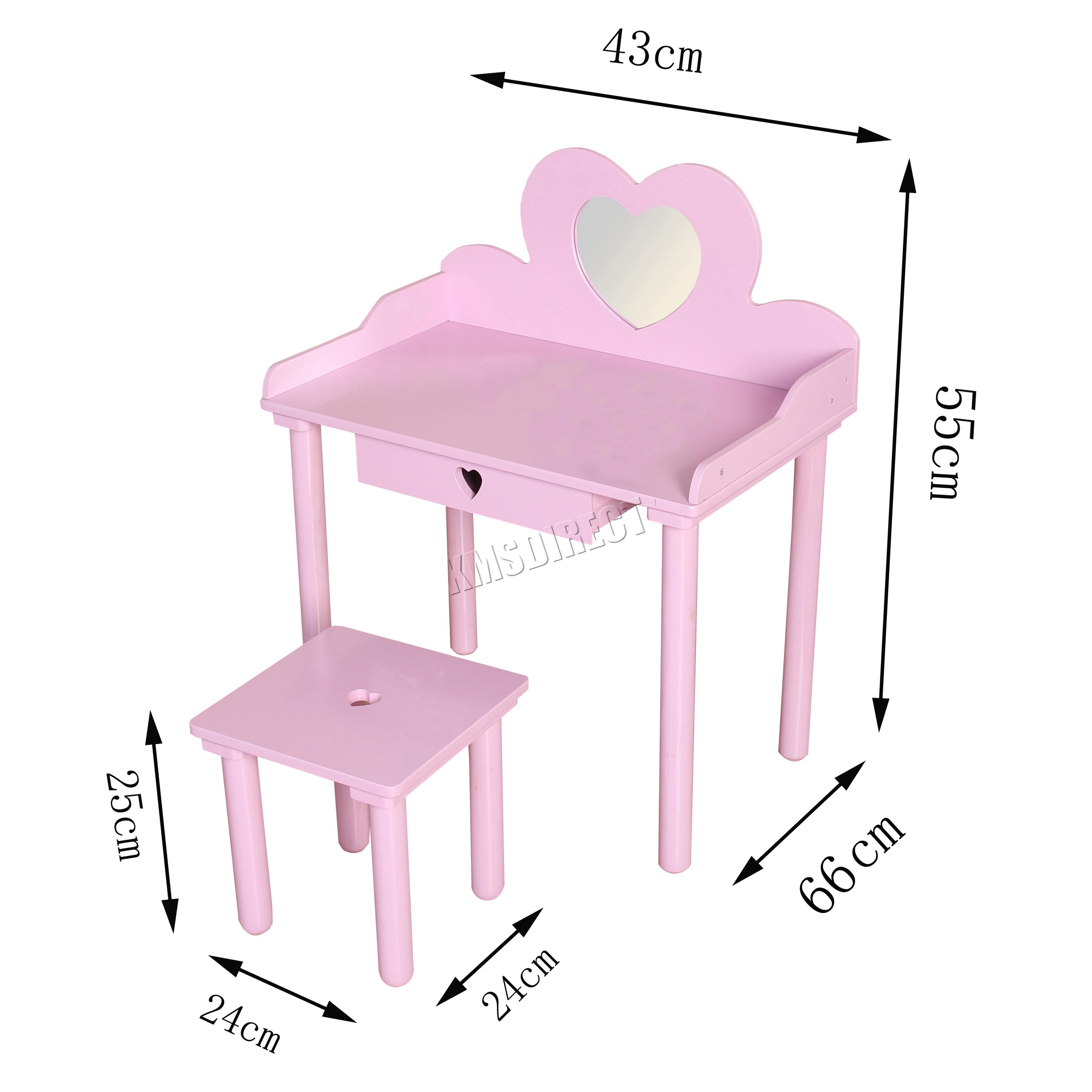 Nice Sentinel FoxHunter Kids Girls Dressing Table Chair Set Makeup Vanity Mirror  Bedroom MDF