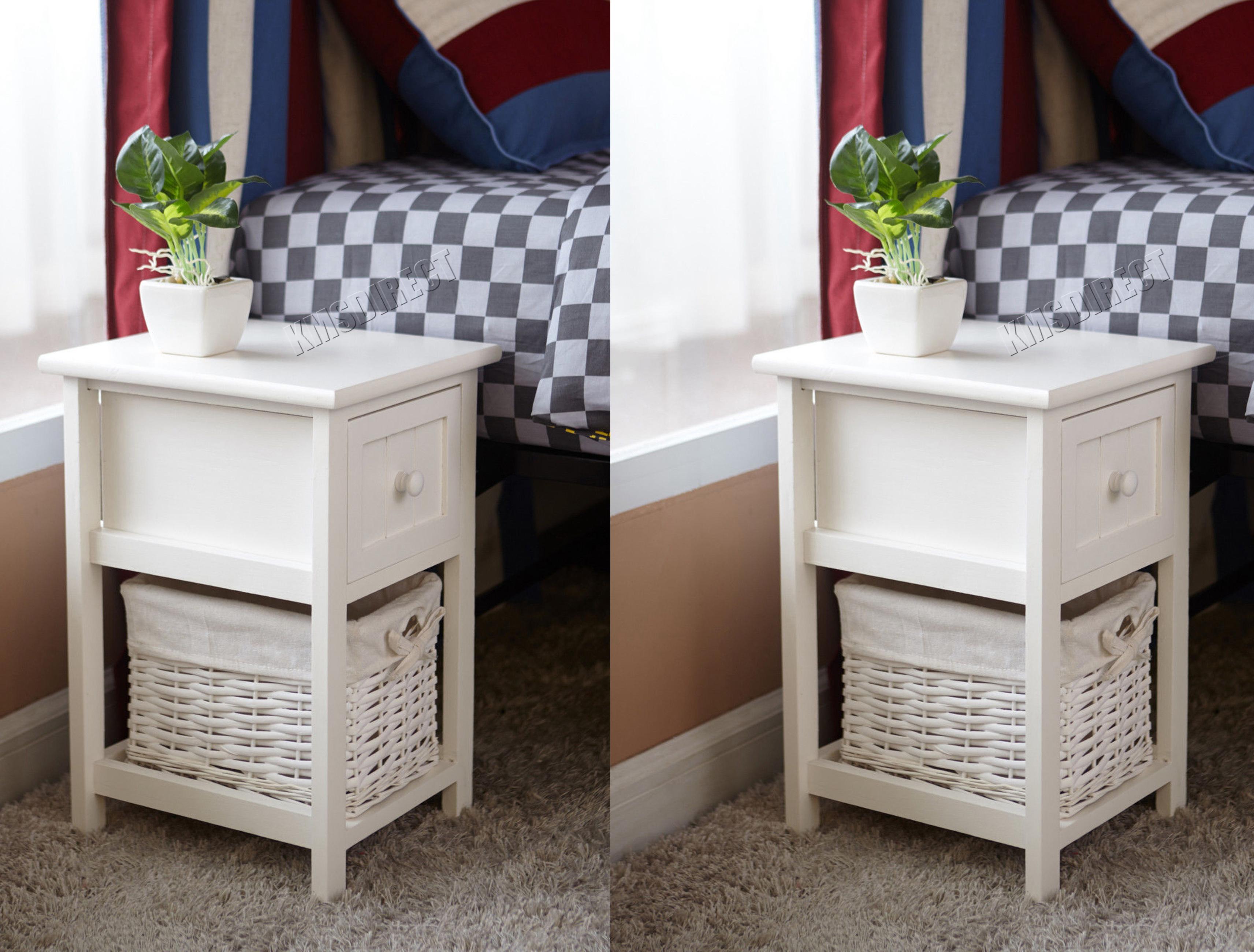 Westwood table de chevet unit avec panier en osier x tiroir stockage chambre ebay - Chevet avec panier osier ...