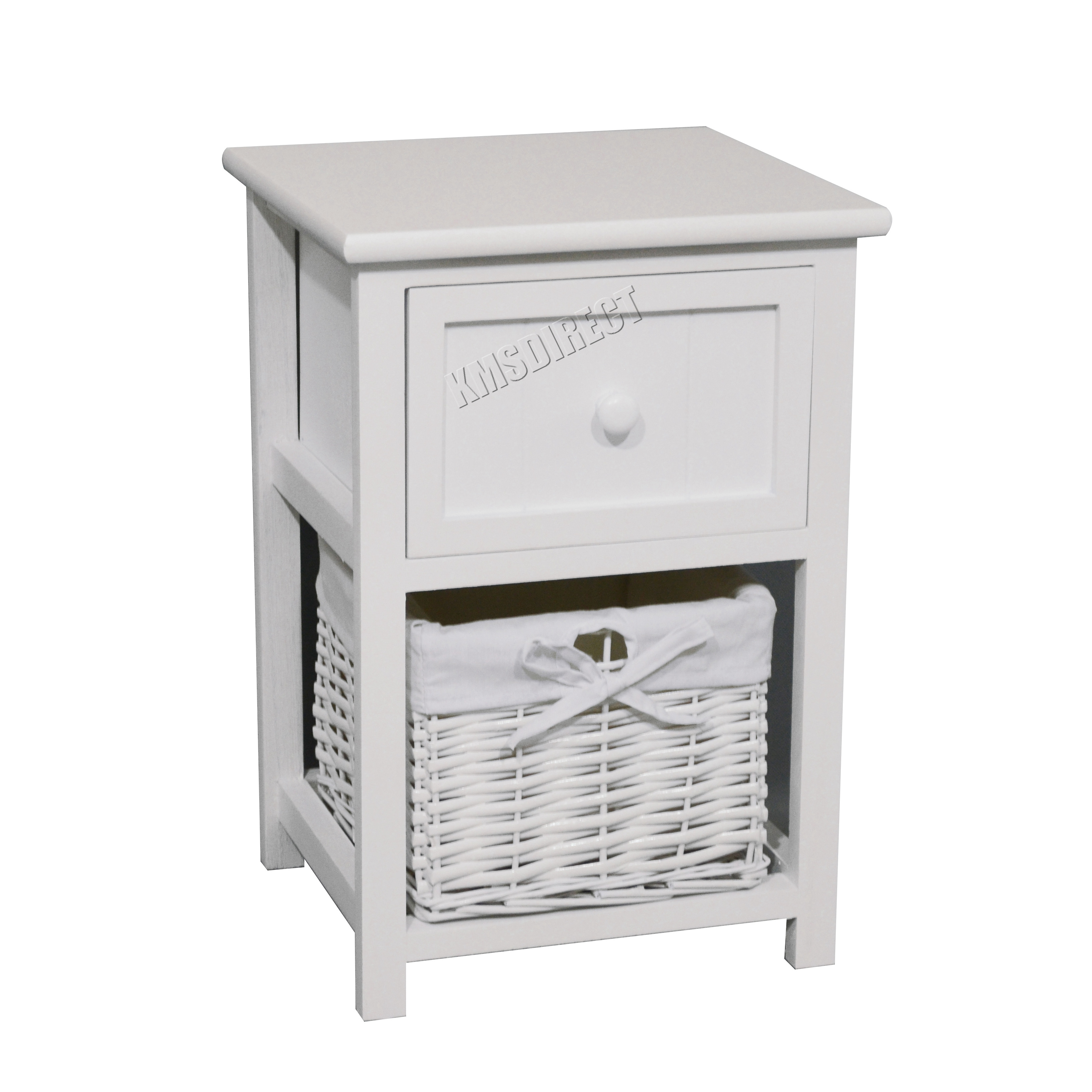 Westwood bedside cabinet unit table with wicker basket for Bedside tables with storage