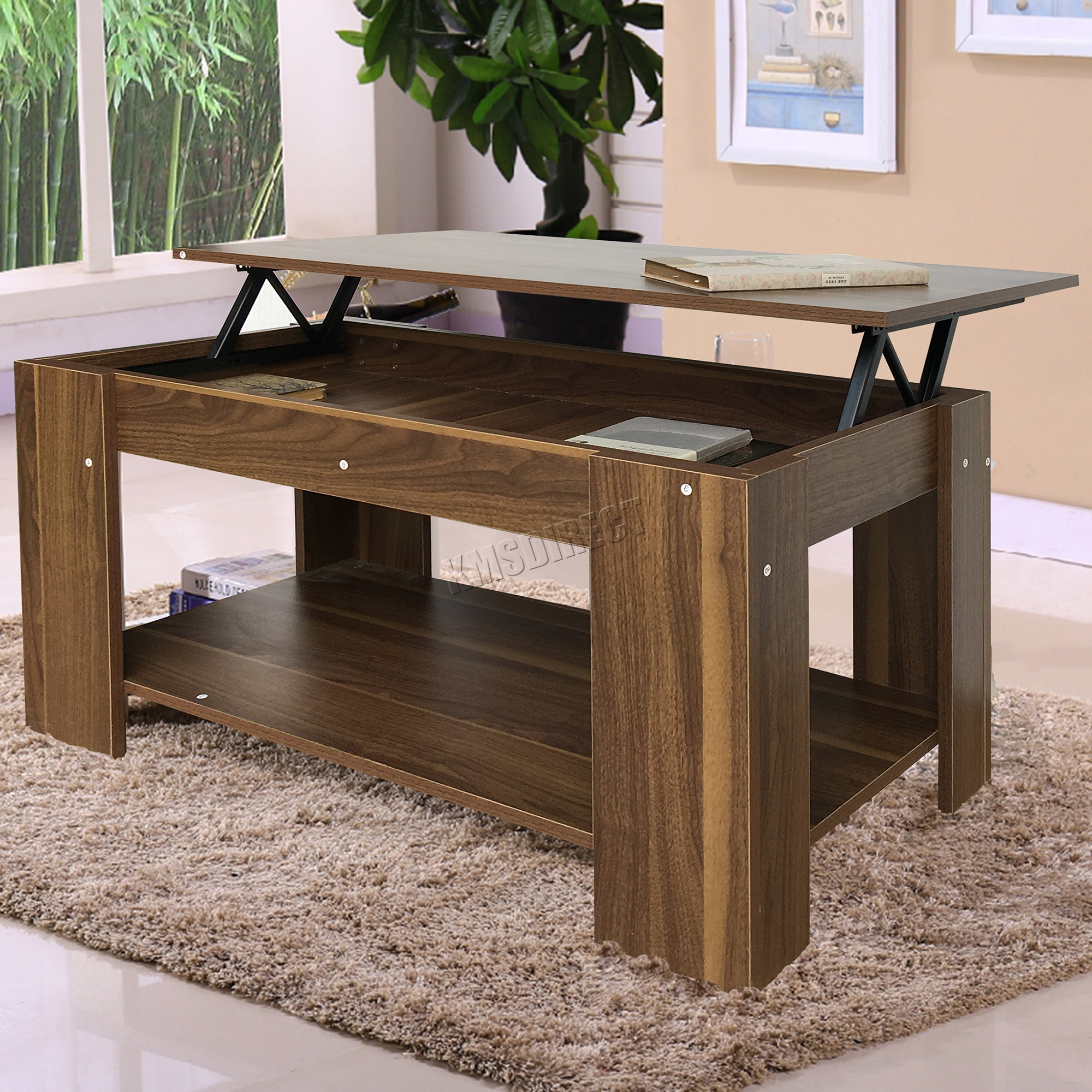 Foxhunter lift up top coffee table with storage shelf for Does a living room need a coffee table