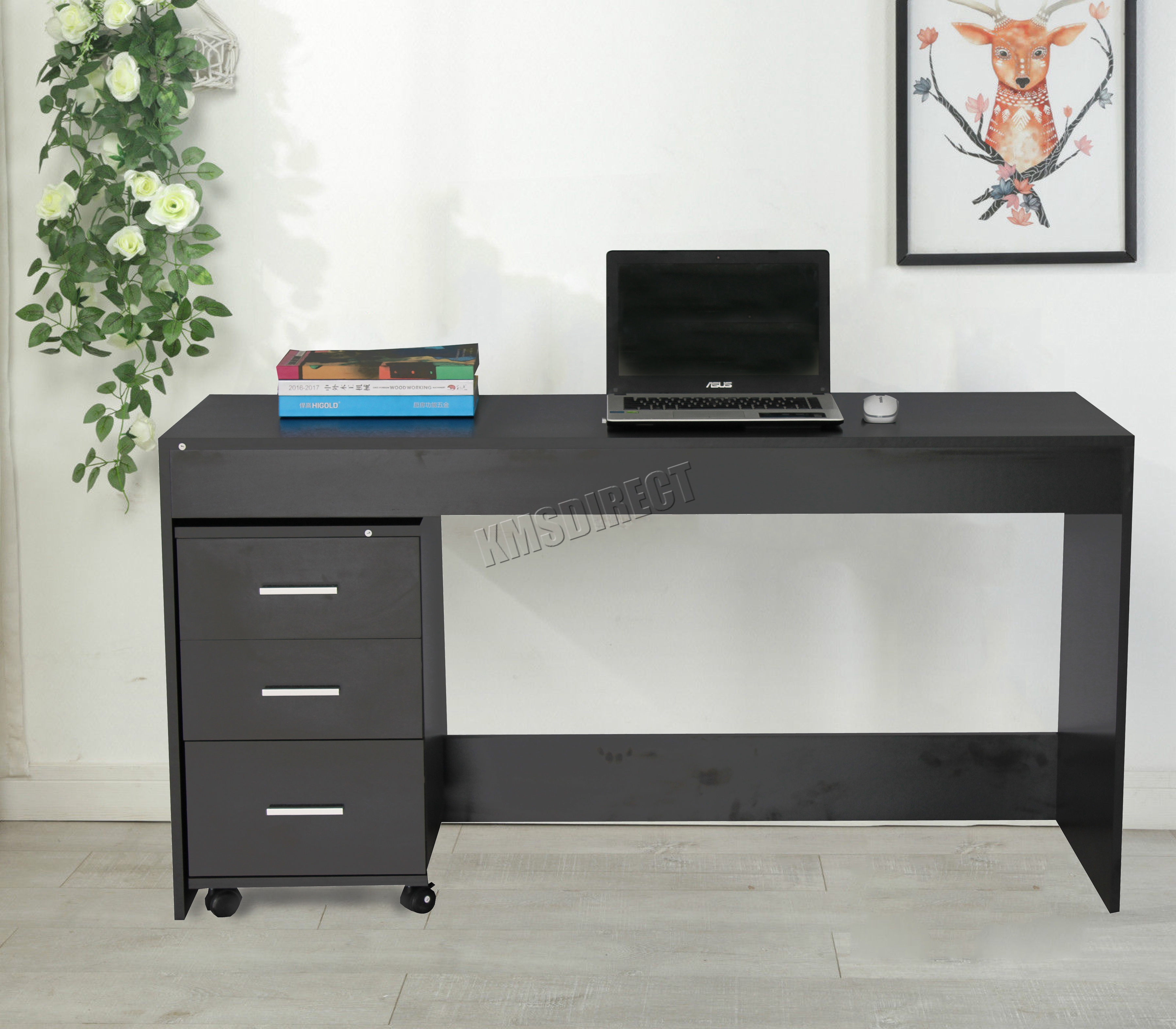 best service 861e3 8abdd Details about WestWood Computer Desk Table With 3 Drawers Home Office  Furniture CD09 Black