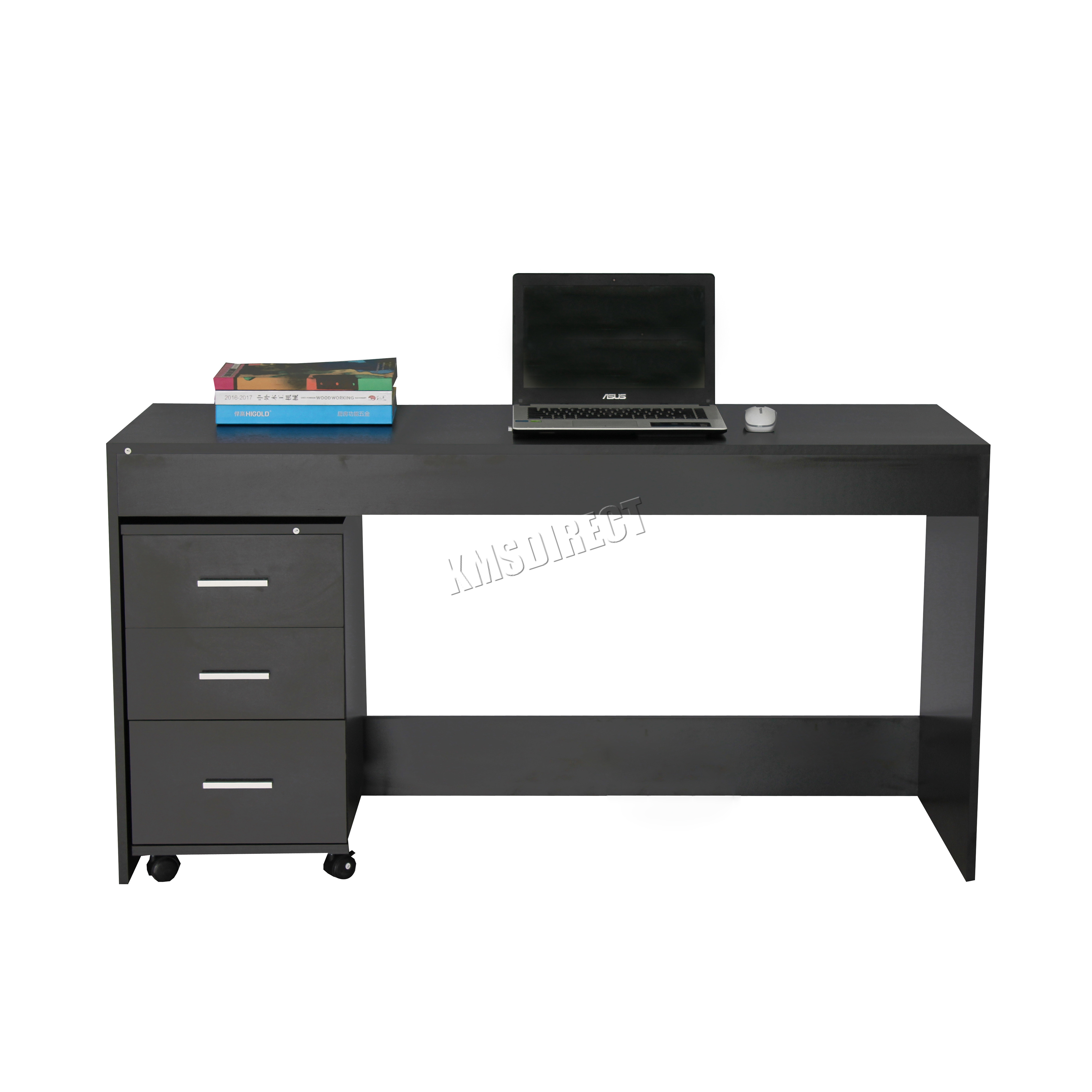 Sentinel Westwood Computer Desk Table With 3 Drawers Home Office Furniture Cd09 Black