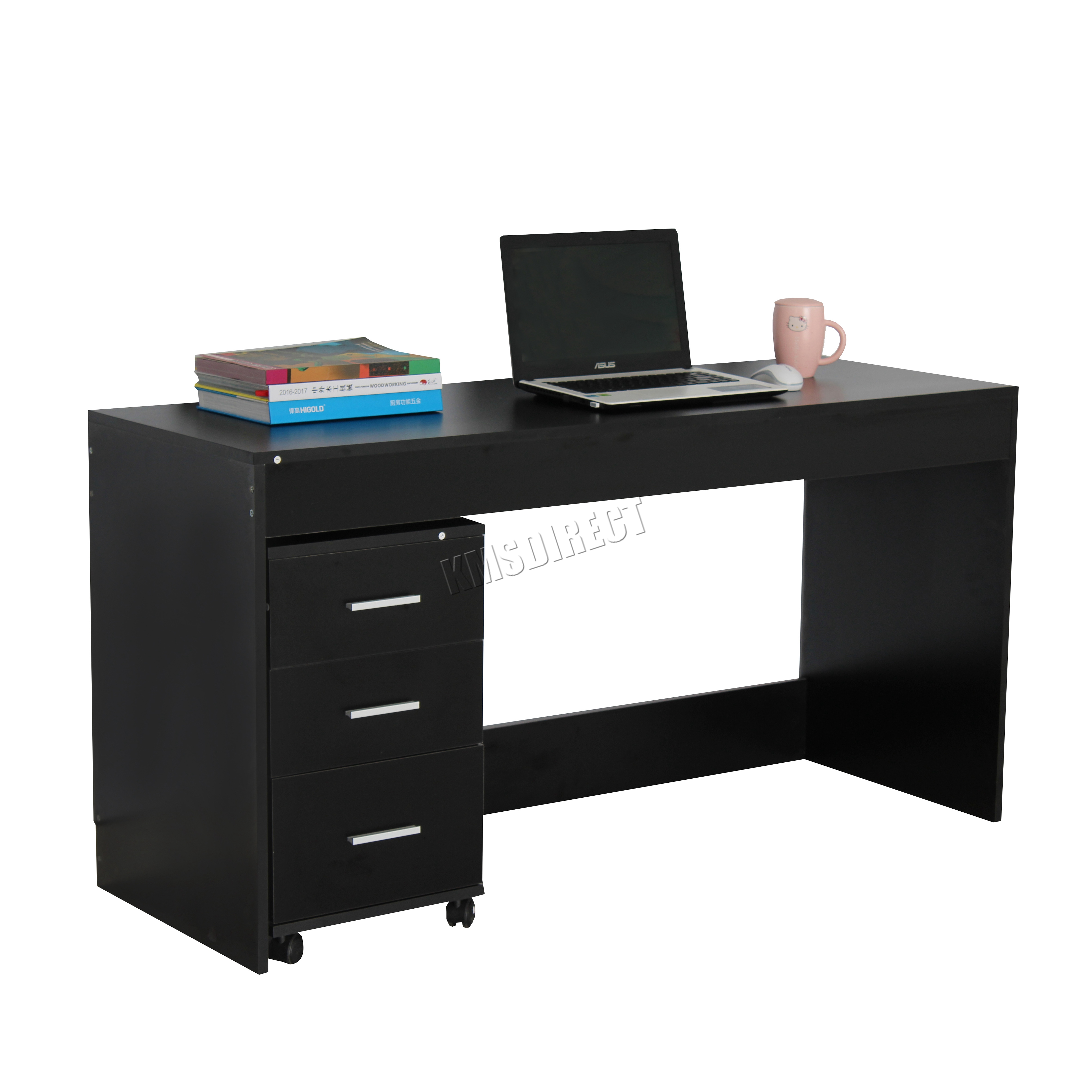 westwood computer desk pc table with 3 drawers home office. Black Bedroom Furniture Sets. Home Design Ideas