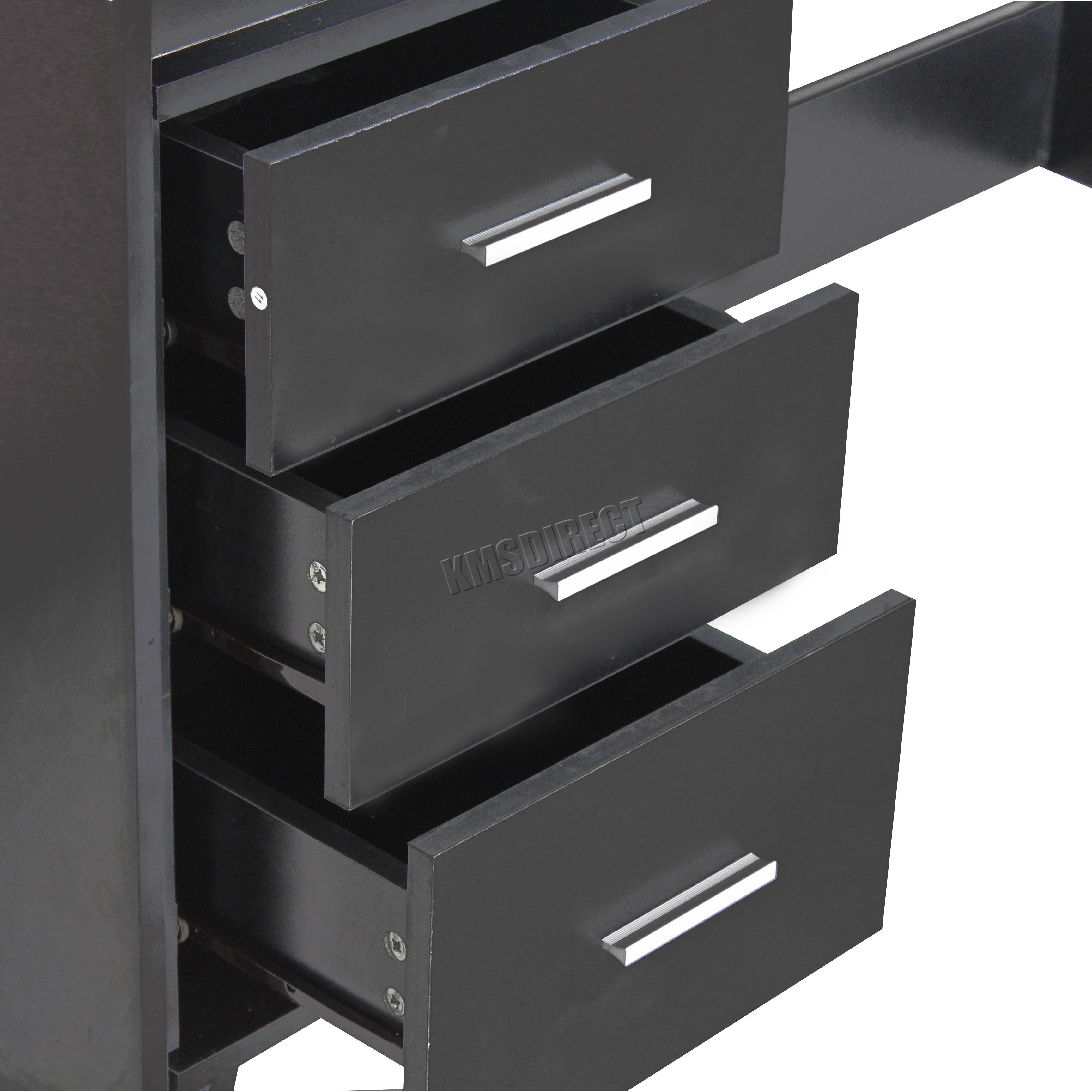 Westwood ordinateur bureau pi ce table avec 3 tiroirs for Meuble bureau avec tiroirs