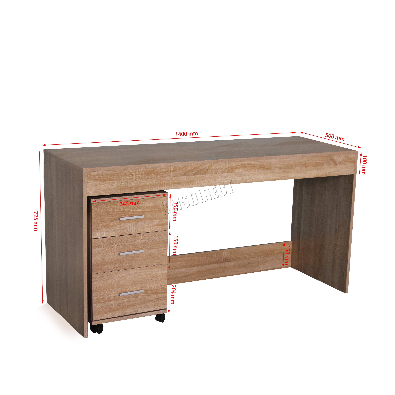 Foxhunter computador escritorio pc mesa con 3 cajones - Mesa escritorio con cajones ...