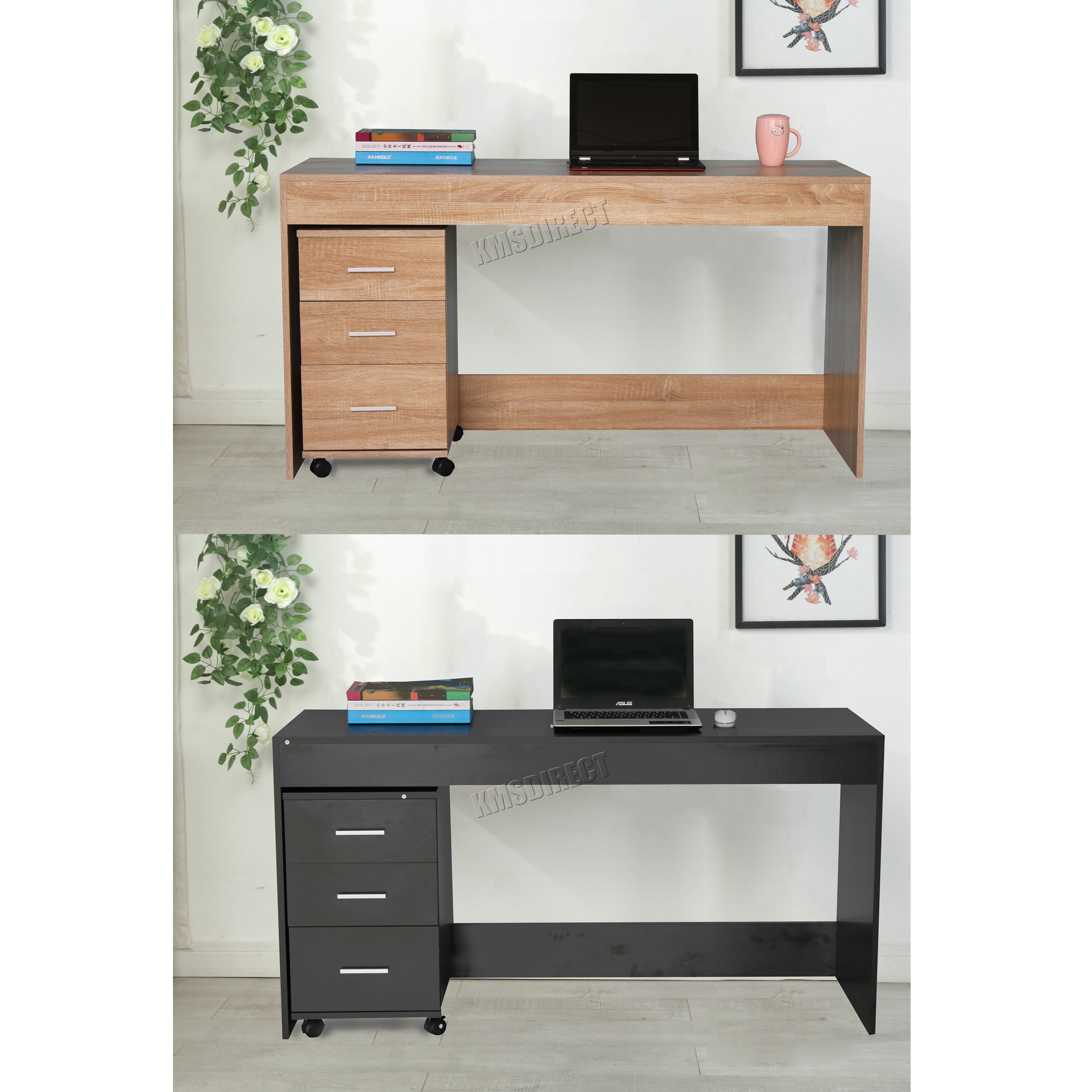 Foxhunter Computer Desk Pc Table With 3 Drawers Home Office Furniture Study Cd09 Ebay