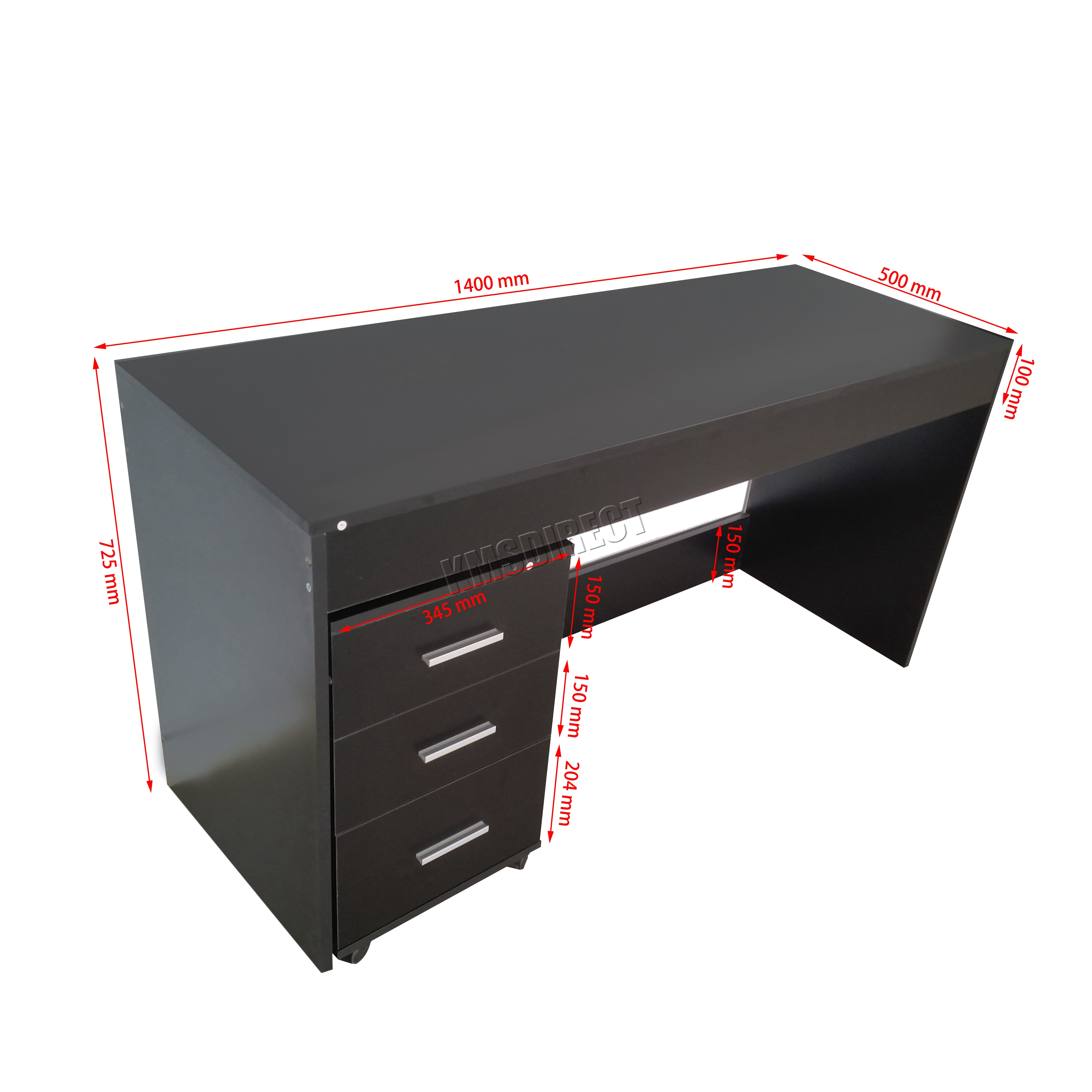 foxhunter computer desk pc table with 3 drawers home office furniture study cd09 ebay. Black Bedroom Furniture Sets. Home Design Ideas