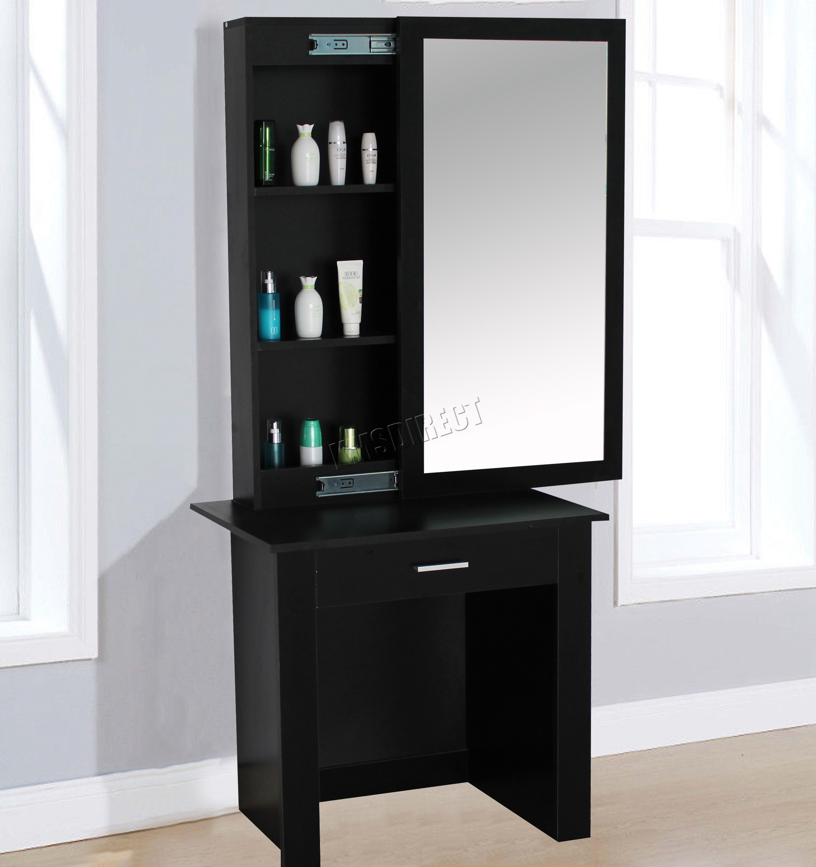Westwood wooden makeup jewelry dressing table with sliding for Black makeup table with mirror